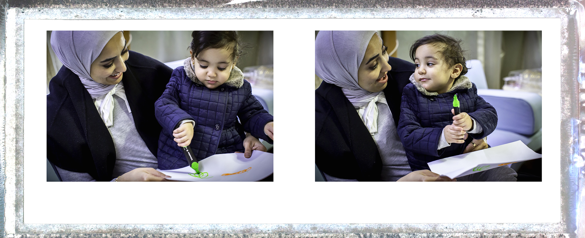 Young kids love to draw and seek approval from their parents, Alzain is no different, a natural family portrait.