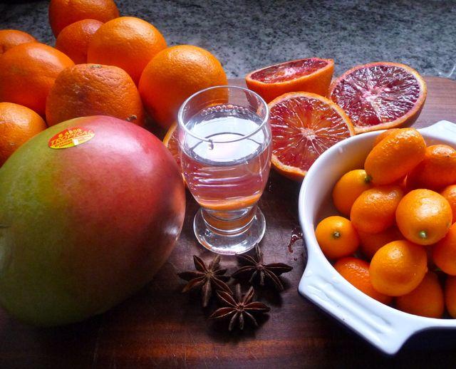 Orangen-, Mango- Kumquatmarmelade mit Orangenlikör