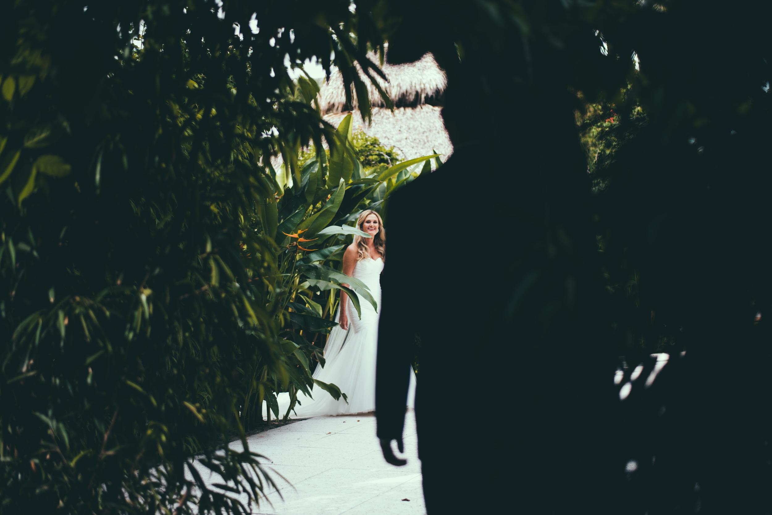 The Palms Hotel & Spa Wedding Miami Florida Photographer First Look Garden Bride Walking