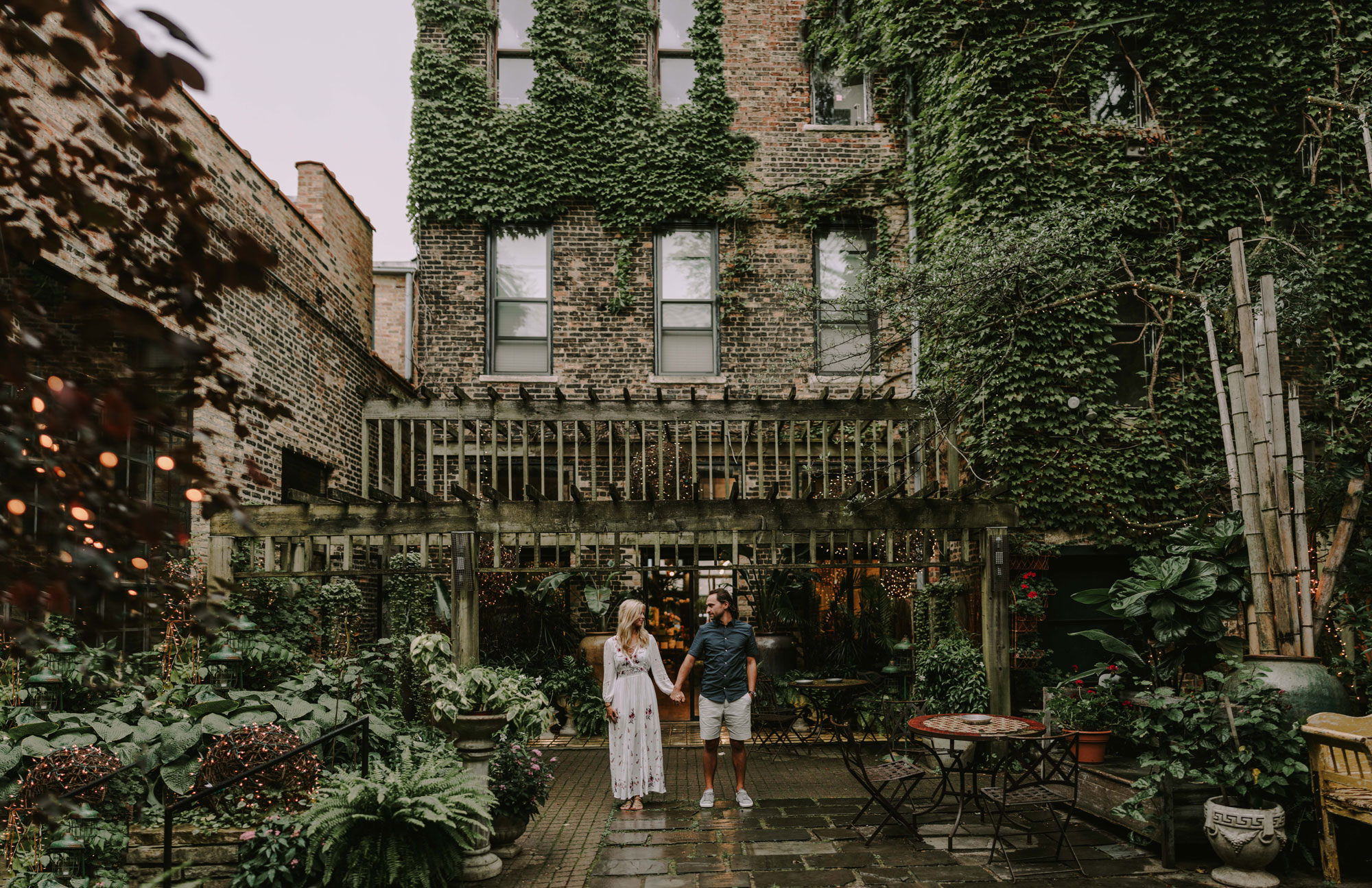 Marry & Matt McCoy taking their one year anniversary portraits in A New Leaf in downtown Chicago. This photograph is here because under all the wild that is the city this brought me so much peace! It's a must visit!