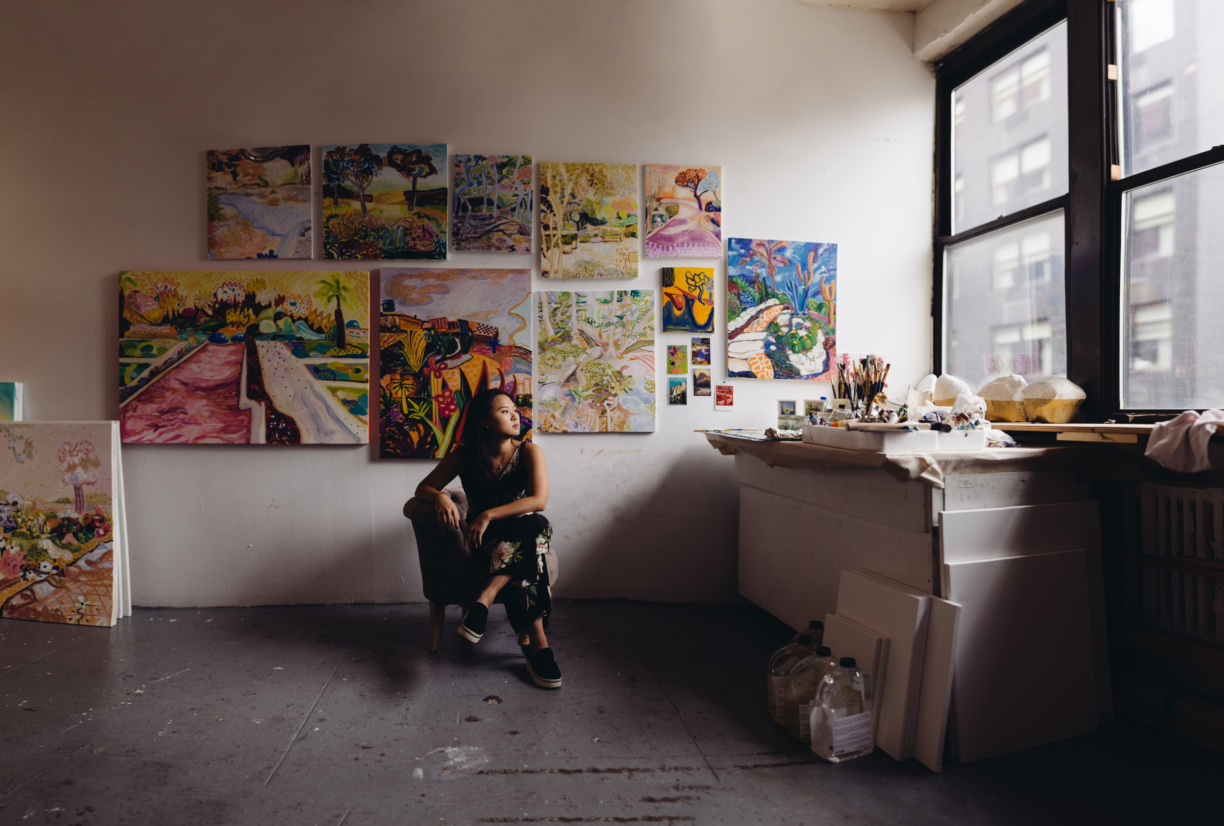 A portrait of Sue in front of all her current work that she was going to send out to a gallery. The amount of talent in the city is increible. It was at this moment that I felt I was not the only one who feels so passionate about what they do as much as I do