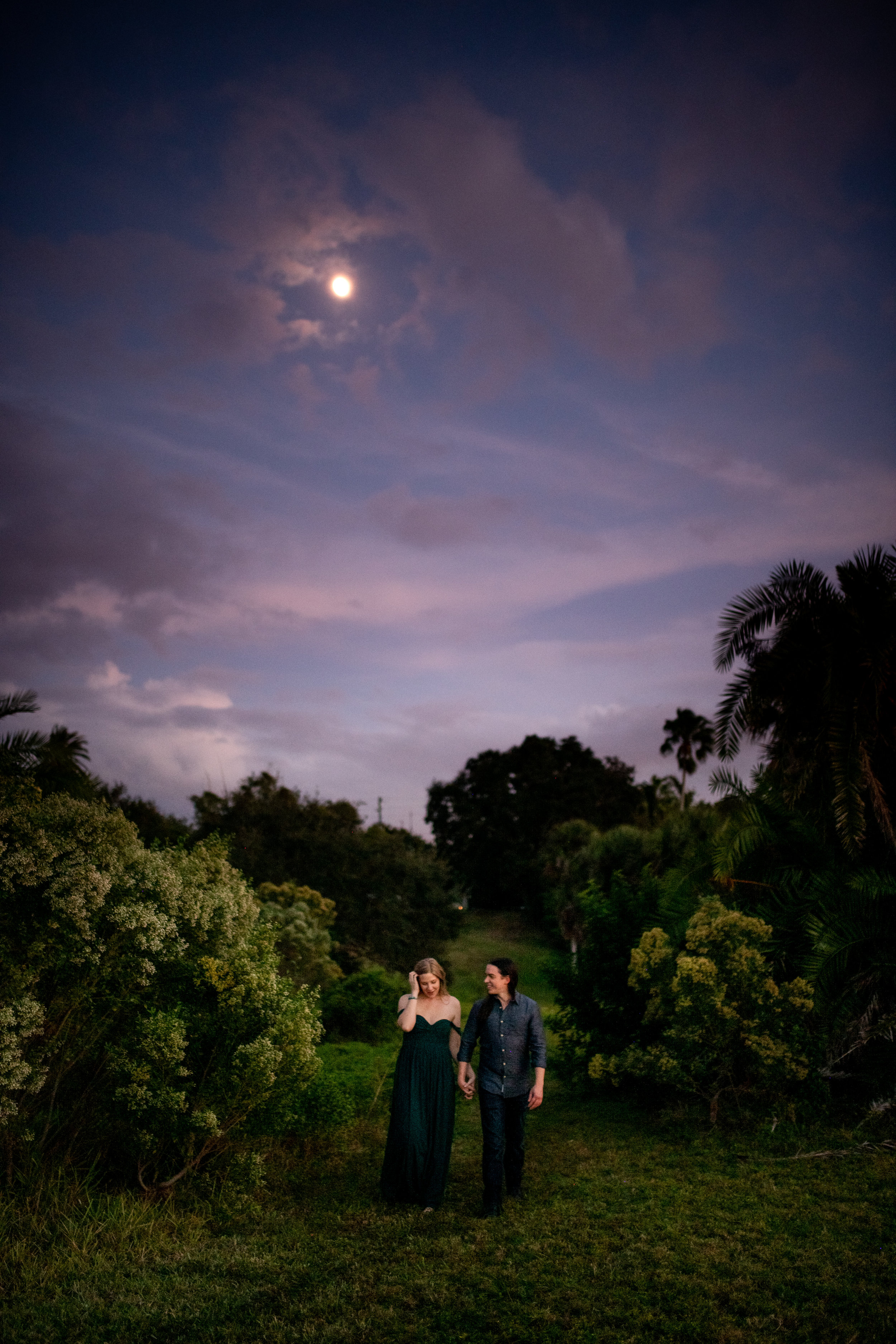 Couple walking down a grassy path under the moon