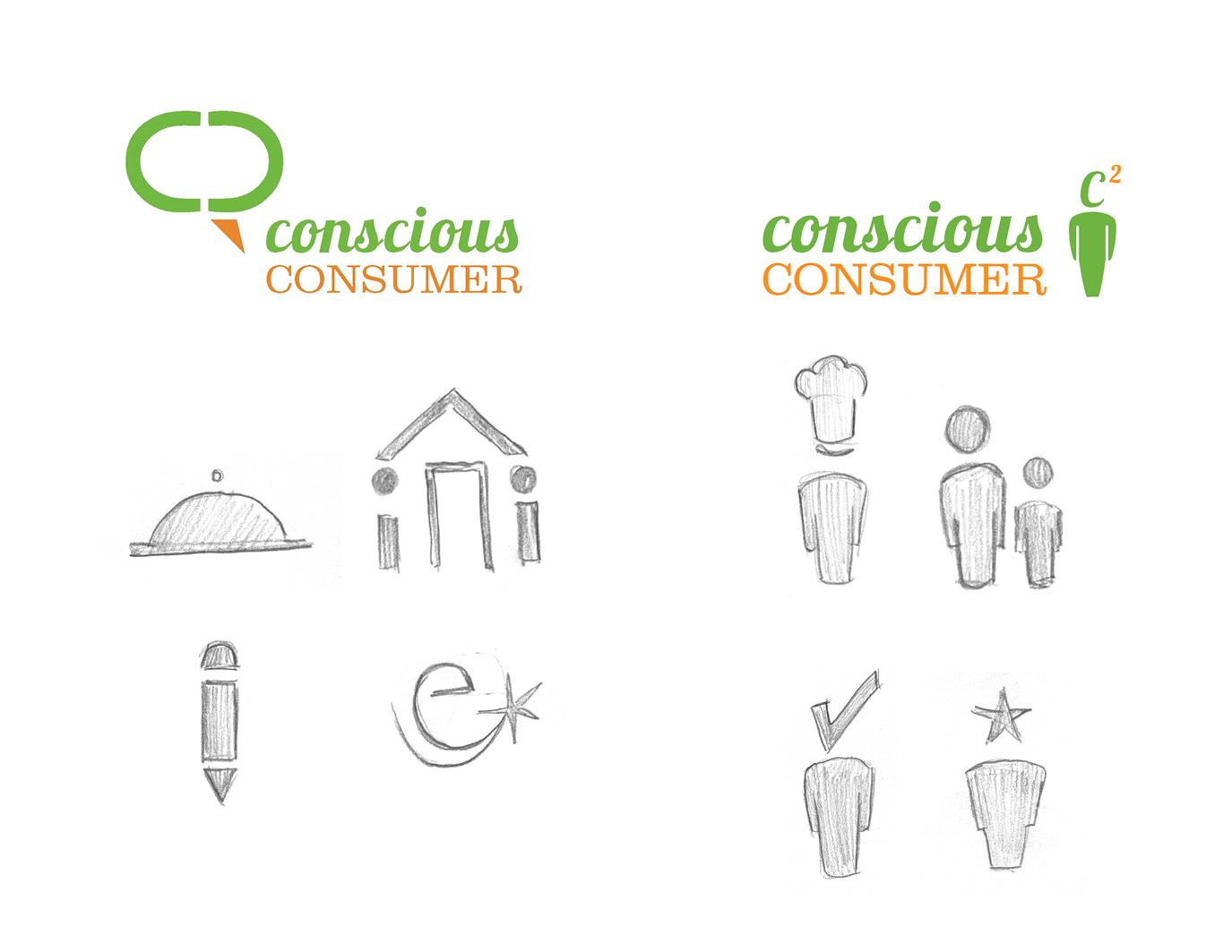 Conscious Consumer icon sketches.