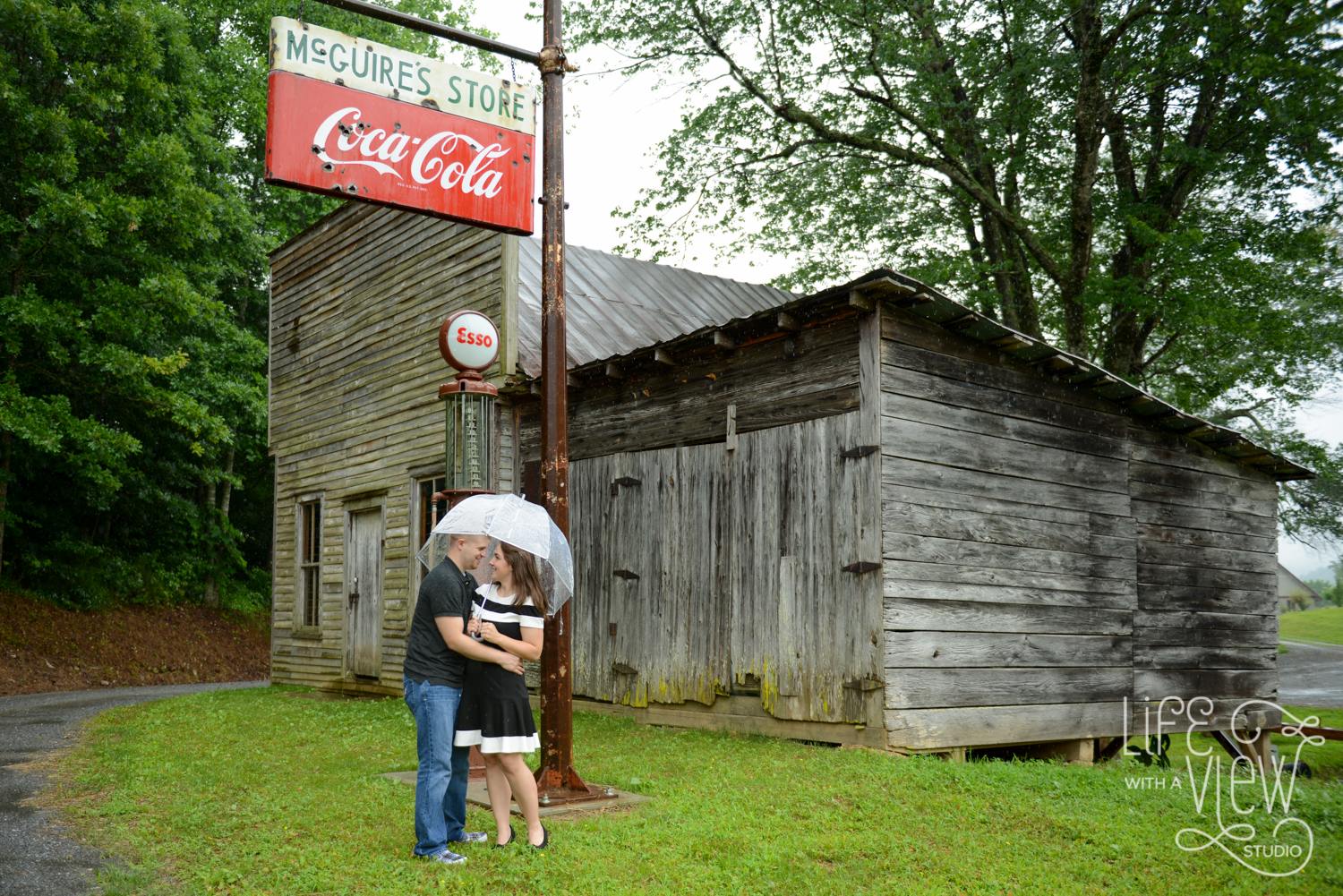 Sarah and Alan drove a long way for their beautiful Murphy, NC engagement session, so they were not about to let a little (or a lot) of rain stand in their way.