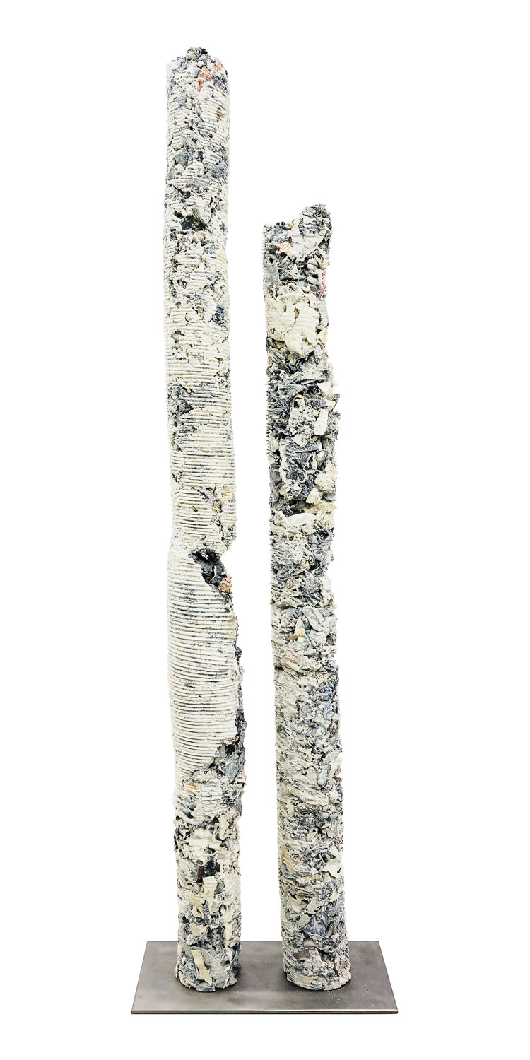 Helmut Lang -Untitled, 2015  Resin, pigment, mixed media, and steel 59.75 x 16 x 8 in (151.77 x 40.64 x 20.32 cm)  Estimate  $17,500 - $20,000