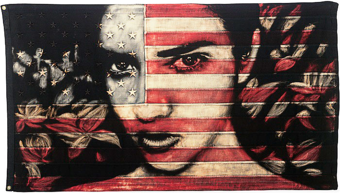 PAM GLEW -Haze, 2015  Dye and bleach on vintage American flag 38.58 x 64.17 in (97.99 x 162.99 cm)  Estimate  $5,500 - $7,500