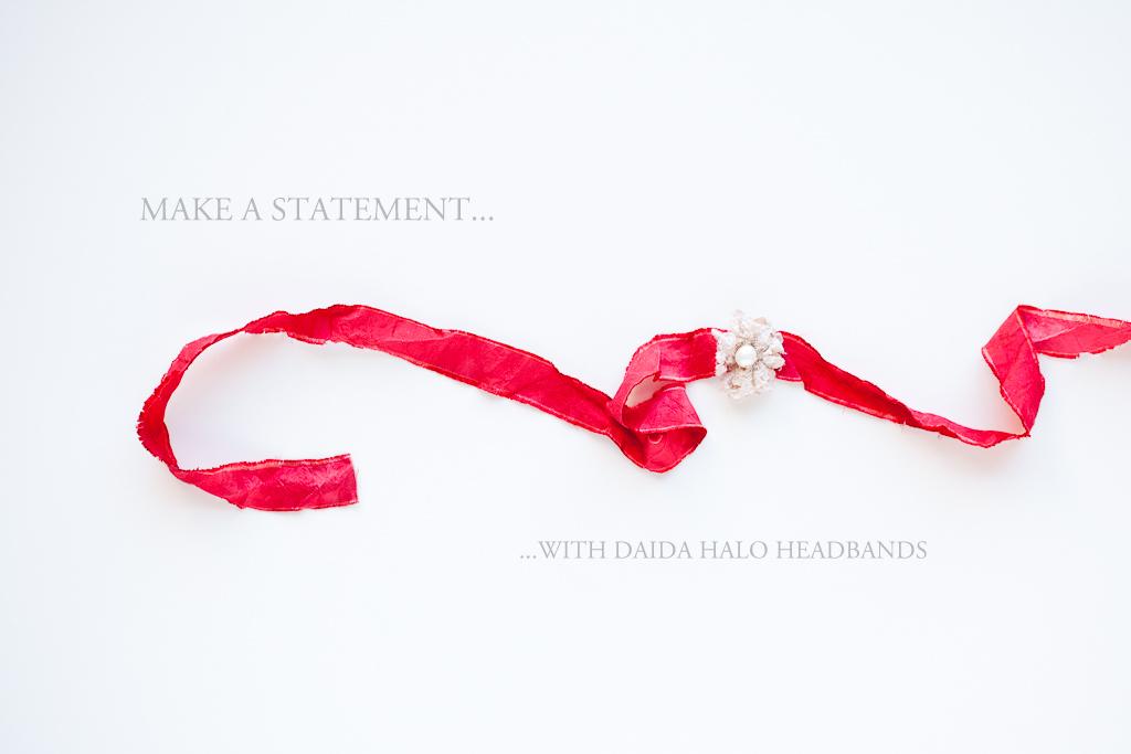 Heliotrope - Newborn/Child Halo Headband - Vintage Crimson - Photography Prop -
