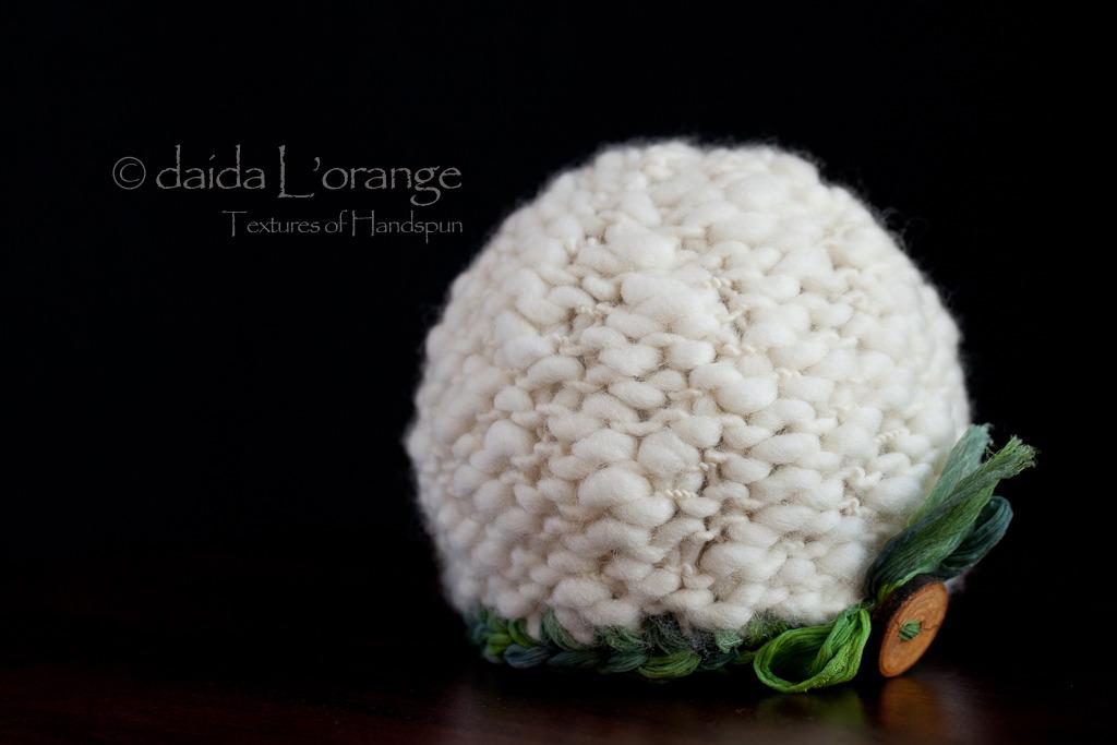 OOAK Newborn Luxe Textured Beanie Hat - Snowy Emerald Forest - Winter Collection