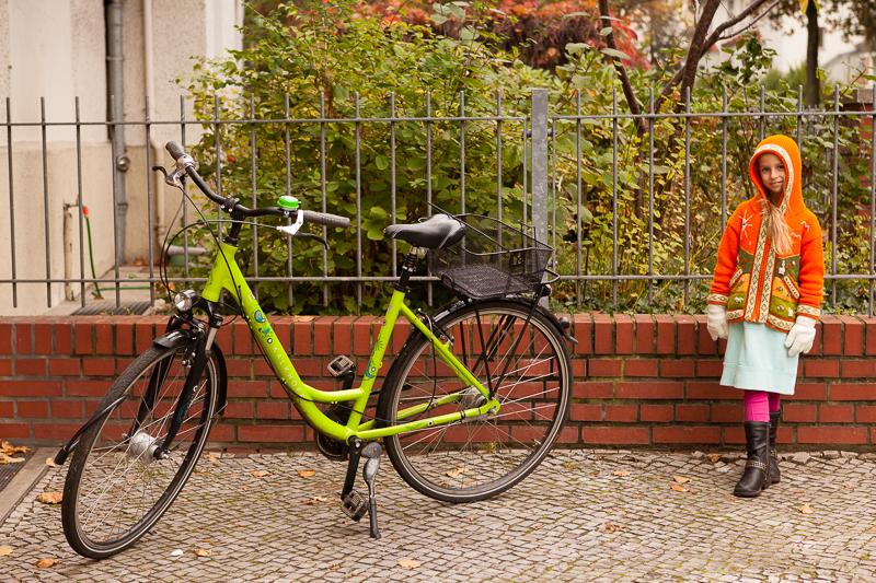 saffron and green bike