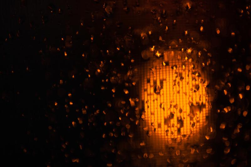 lamp in rain