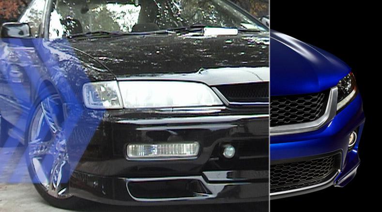 1994 Accord Coupe circa '99 (Greddy Front Spoiler, Custom Grill, PIAA fogs) | 2013 HFP Accord Coupe
