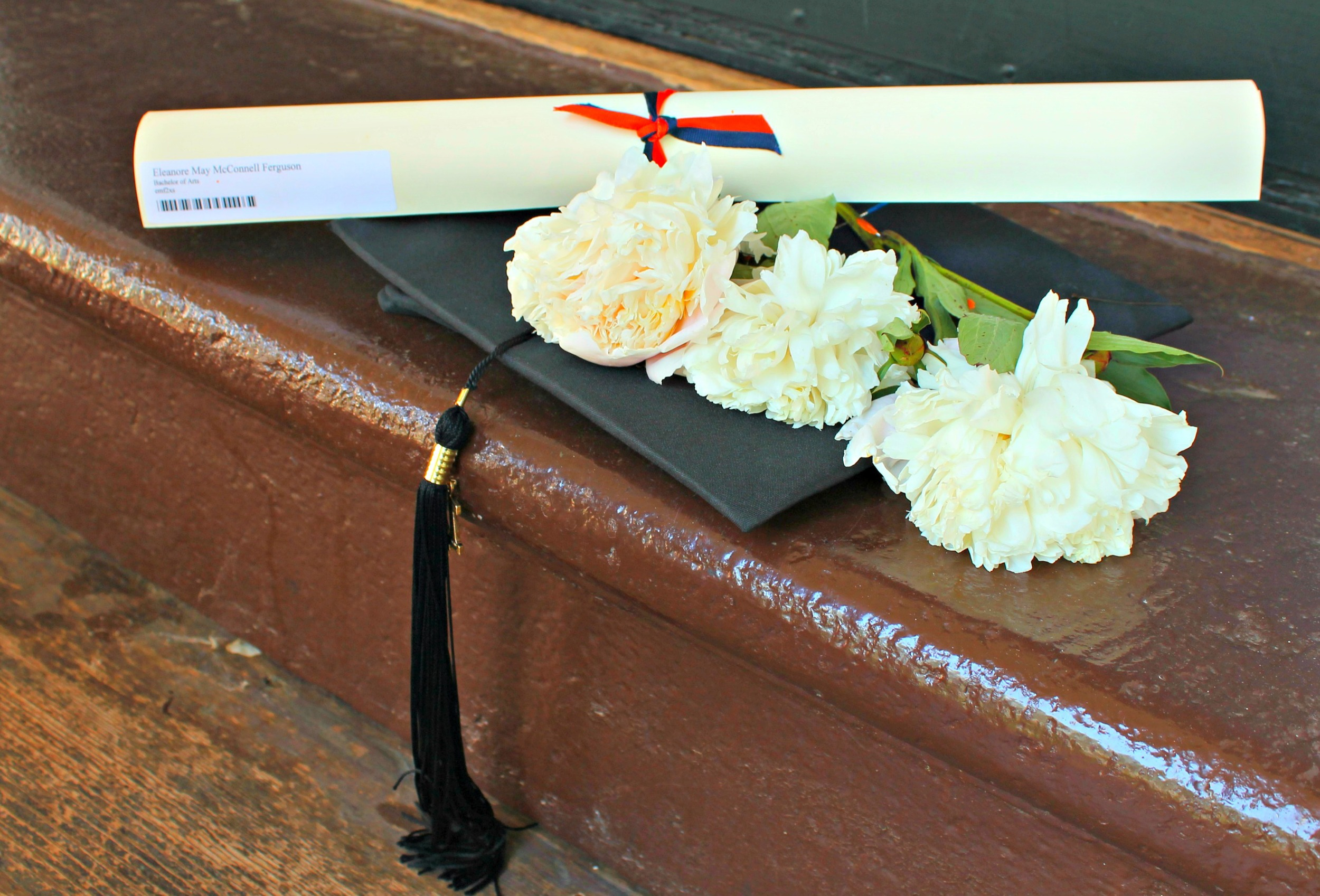 UVA graduate uses peonies from our garden to adorn her cap