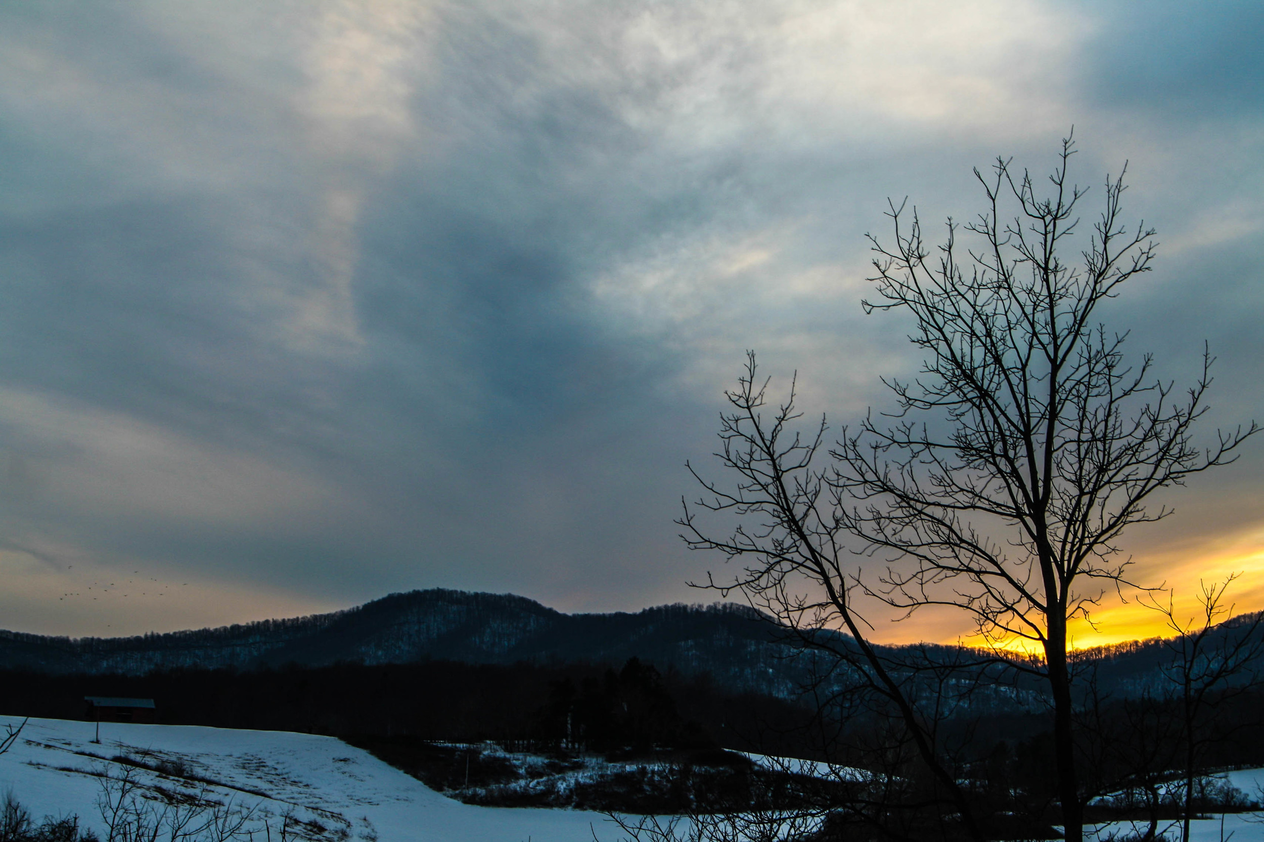 A snowy sunset in mid-January