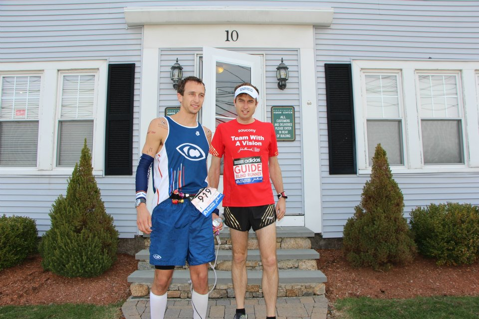 Guide Chad Carr and I outside the Hopkinton Vision Center just before we took to the start of the Boston Marathon.