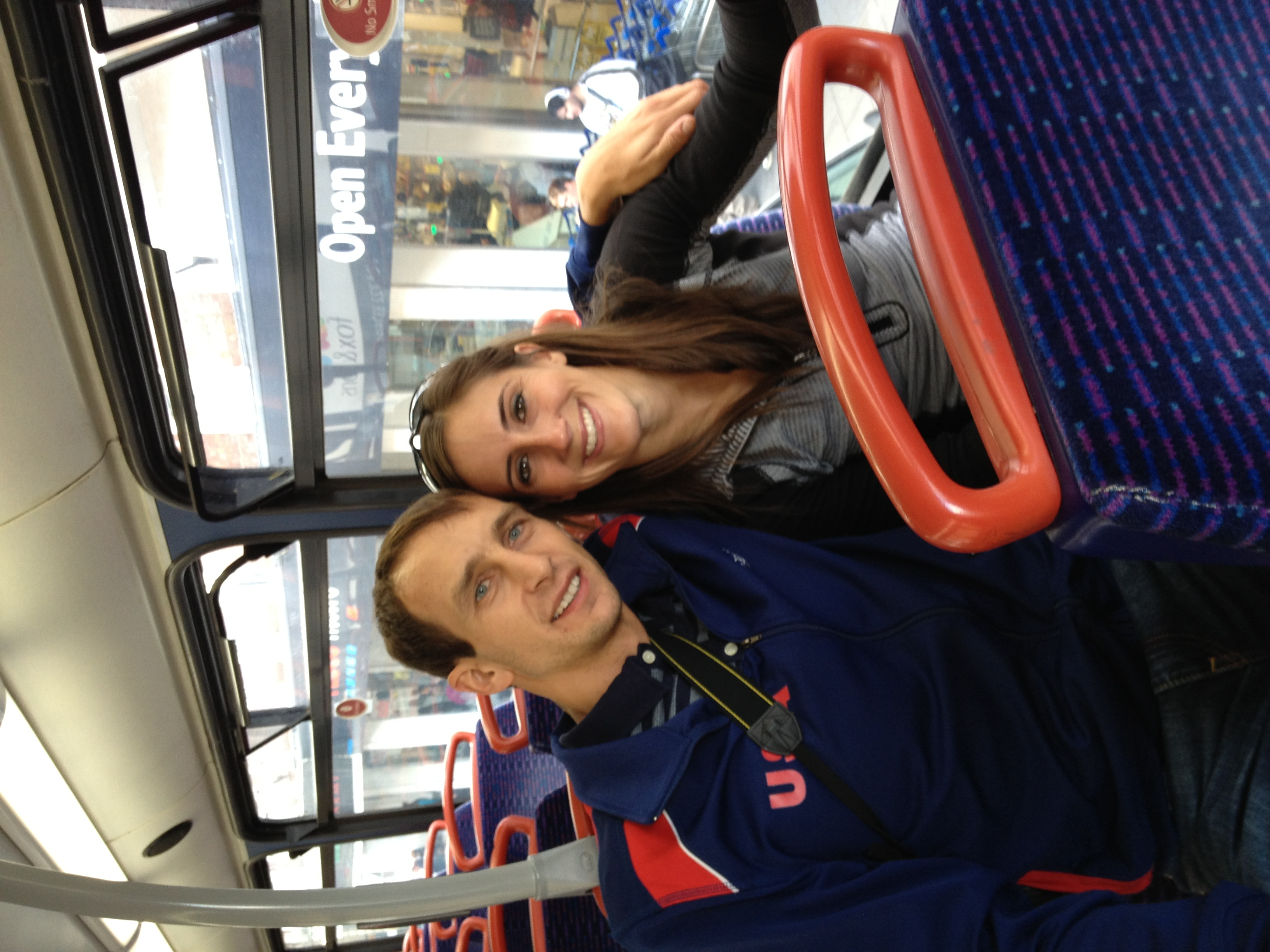 Brittney and I on the bus back to Salisbury from Stonehenge.