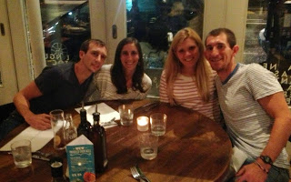 Team Scheidies at dinner before racing ITU Para Worlds
