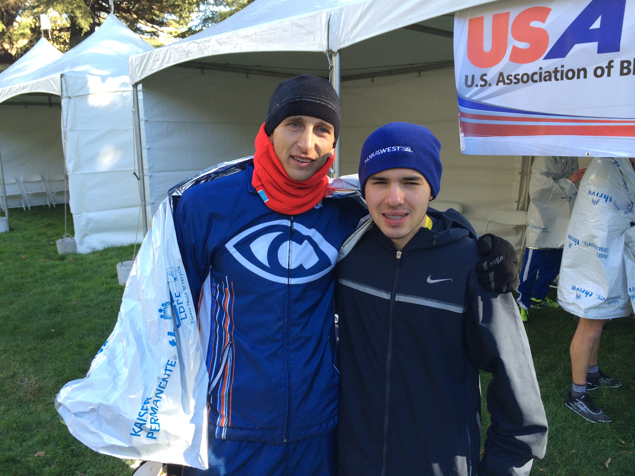 Young phoneme VI athlete Michael Kinoshita and I after the race.