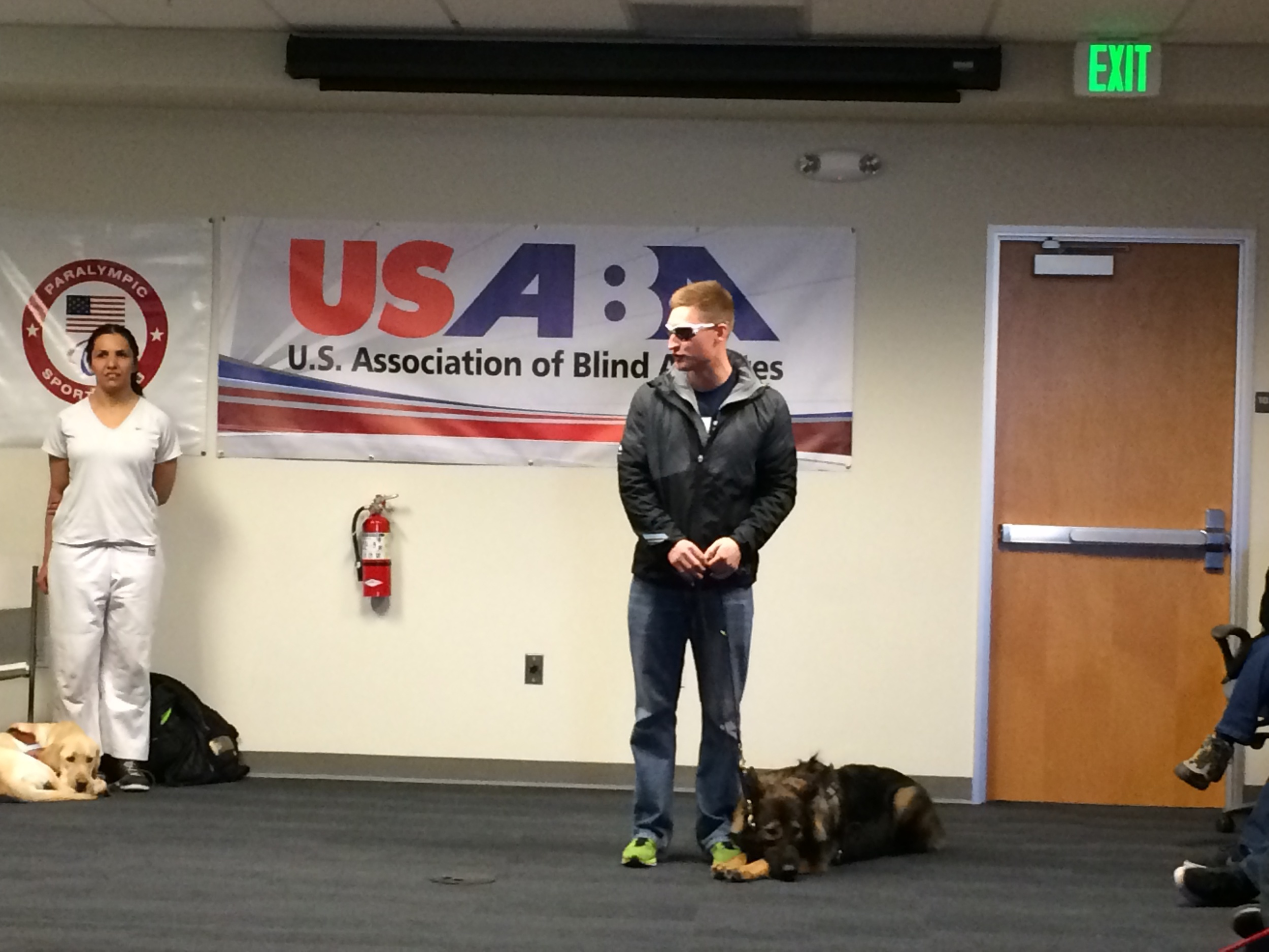 Lt. Brad Snyder speaks to the kids at the USABA Paralympic Experience