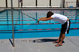 Example of start position for Swim Sim Standing. Tube could be placed lower on pole.
