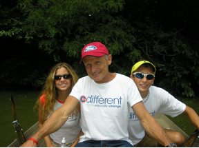 """Fresh off doing our first Ironman and then a week later doing the NYC Triathlon some of my favorite blind/VI peeps and I went rowing in Central Park. Charlie Plaskon (center) who has the same condition I have , is the exact spitting image of who I want to be when I'm 70yrs old. Lindsey Jessup (Left) is like the ideal """"American Girl""""."""