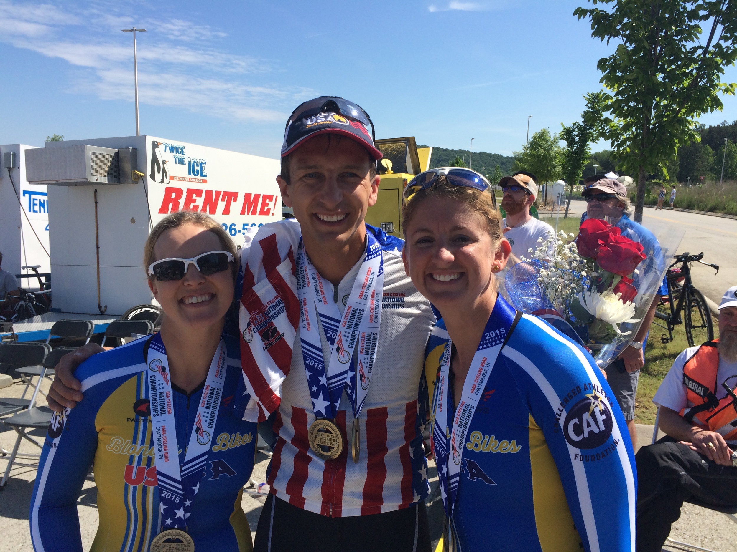 """The """"Blondes on Bikes"""" and I at US Para-Cycling Nationals in Chattanooga."""