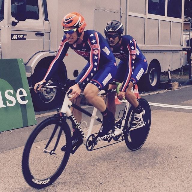 Colin Riley and I in our super hero Team USA suits racing the time trial.