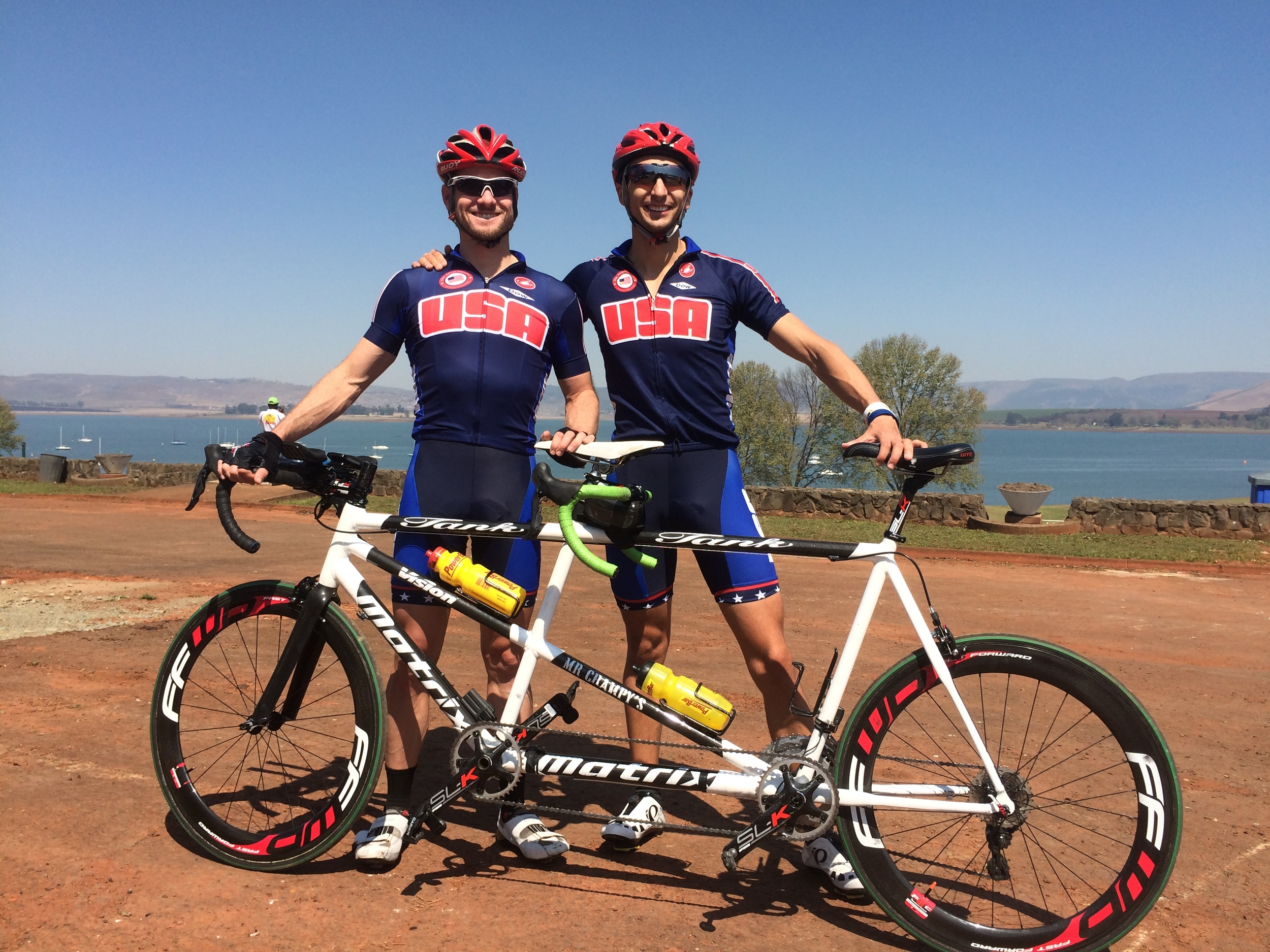 Ben (Colin)Collins and I preparing with Team USA for the UCI World Cup in South Africa (RSA)