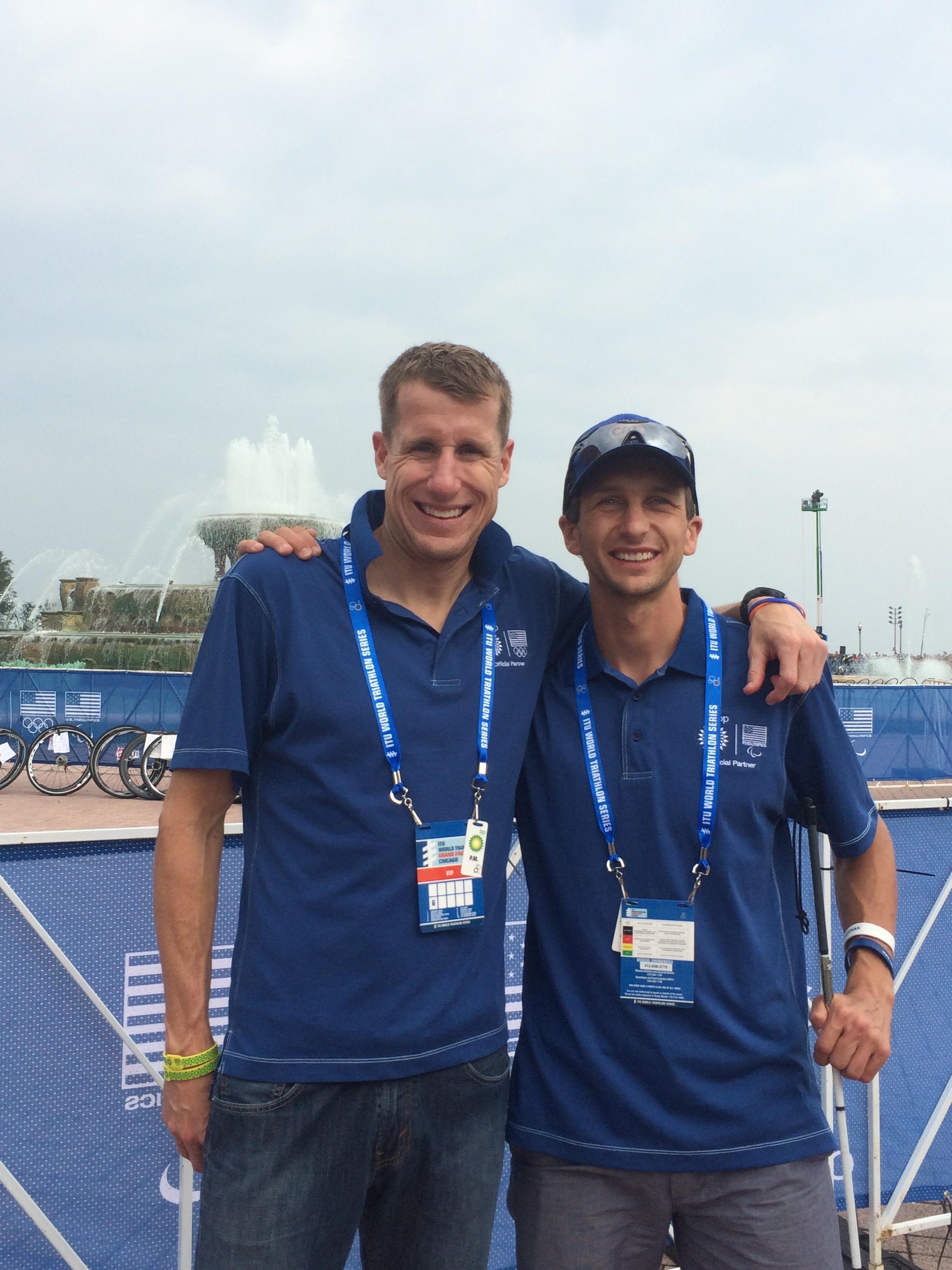 Hunter Kemper and I representing BP in Chicago at ITU World Championships 2015.