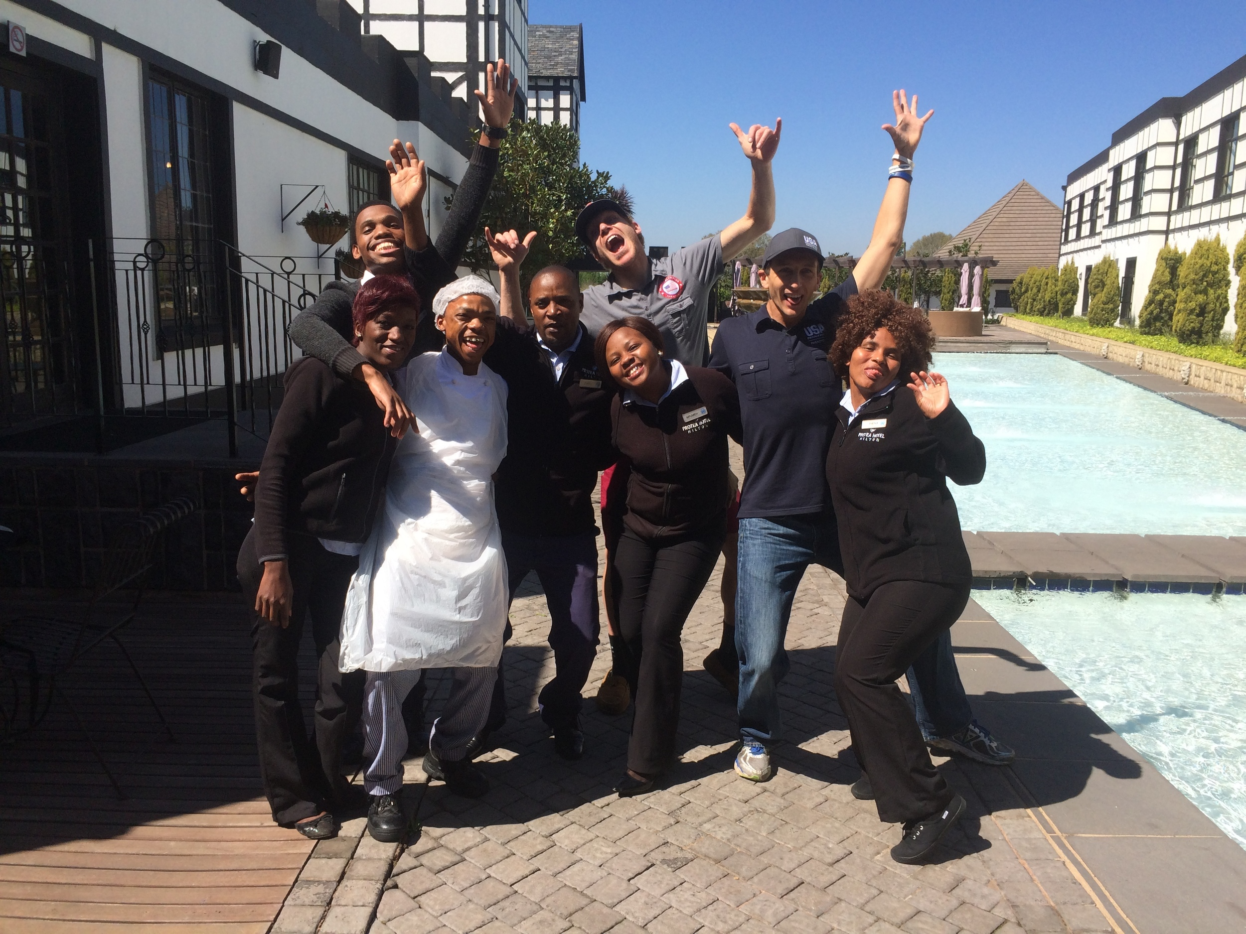 Saying goodbye to the friendly staff at our hotel in South Africa. They were AWESOME!
