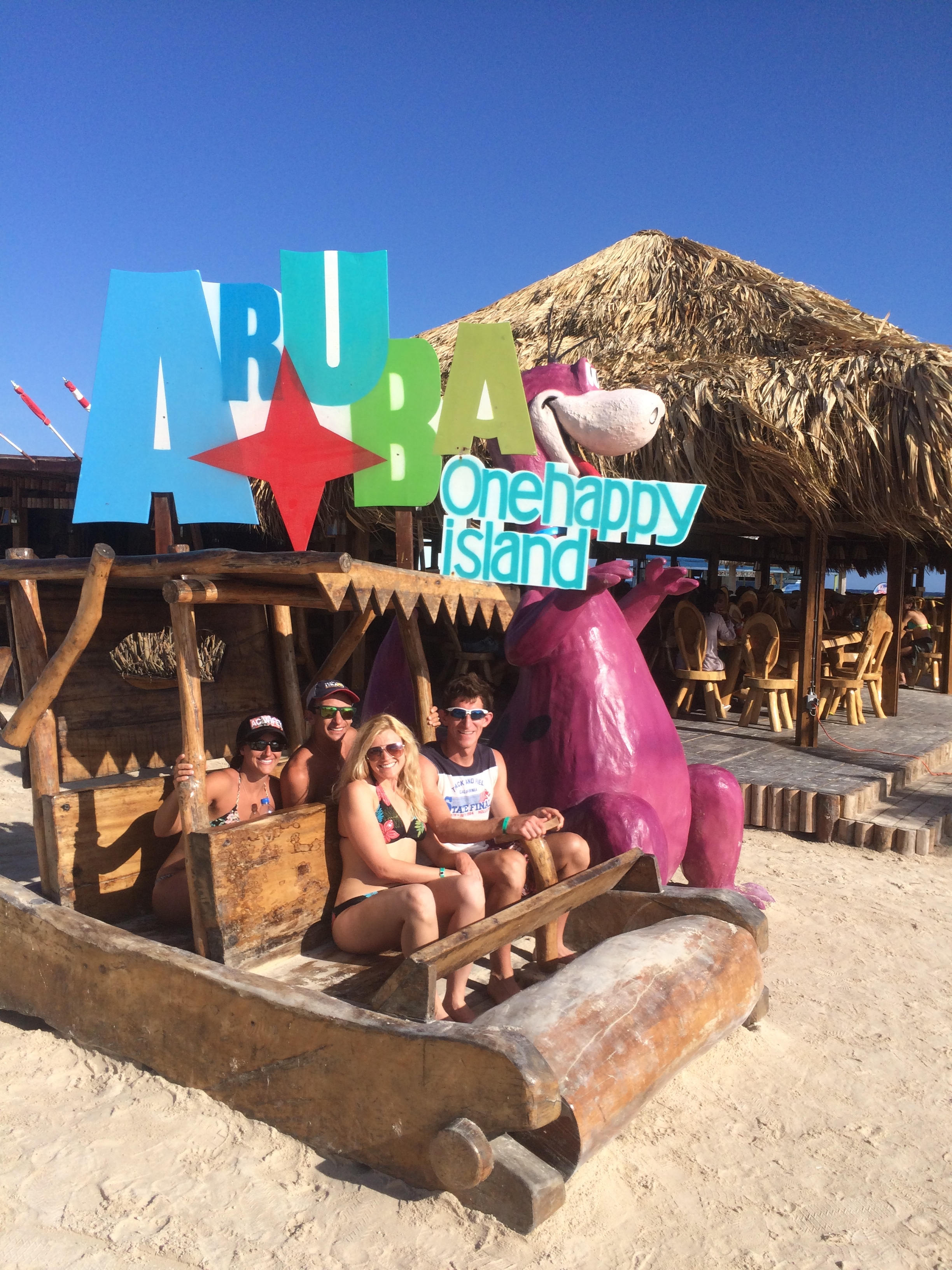Colin & Amanda Riley as well as Brittney & I at Baby Beach in Aruba on our honeymoon hanging out like Flintstones!
