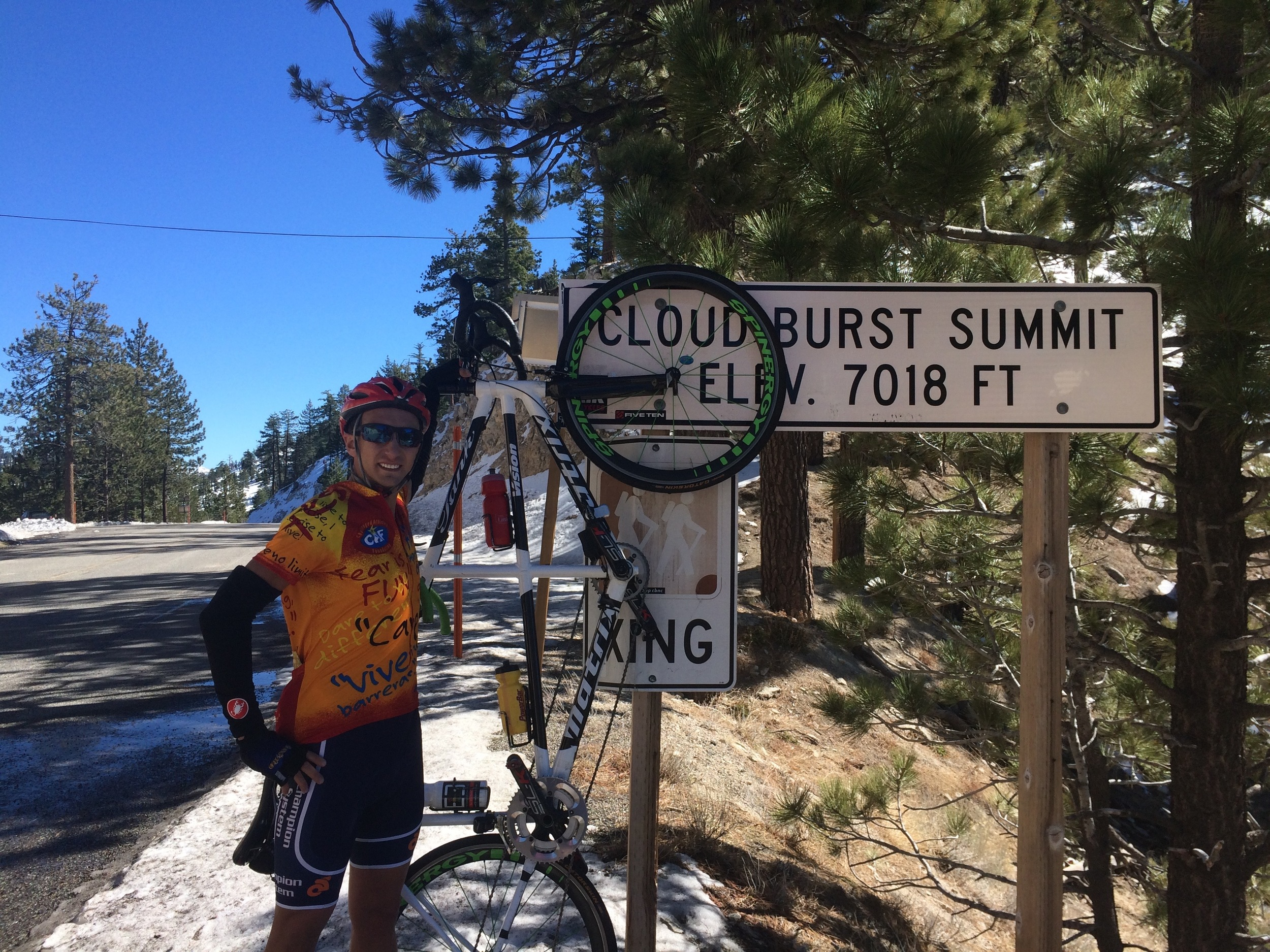 We made it to the 7,000ft mark on our long climb and even threw a few snowballs at each other at the top :)