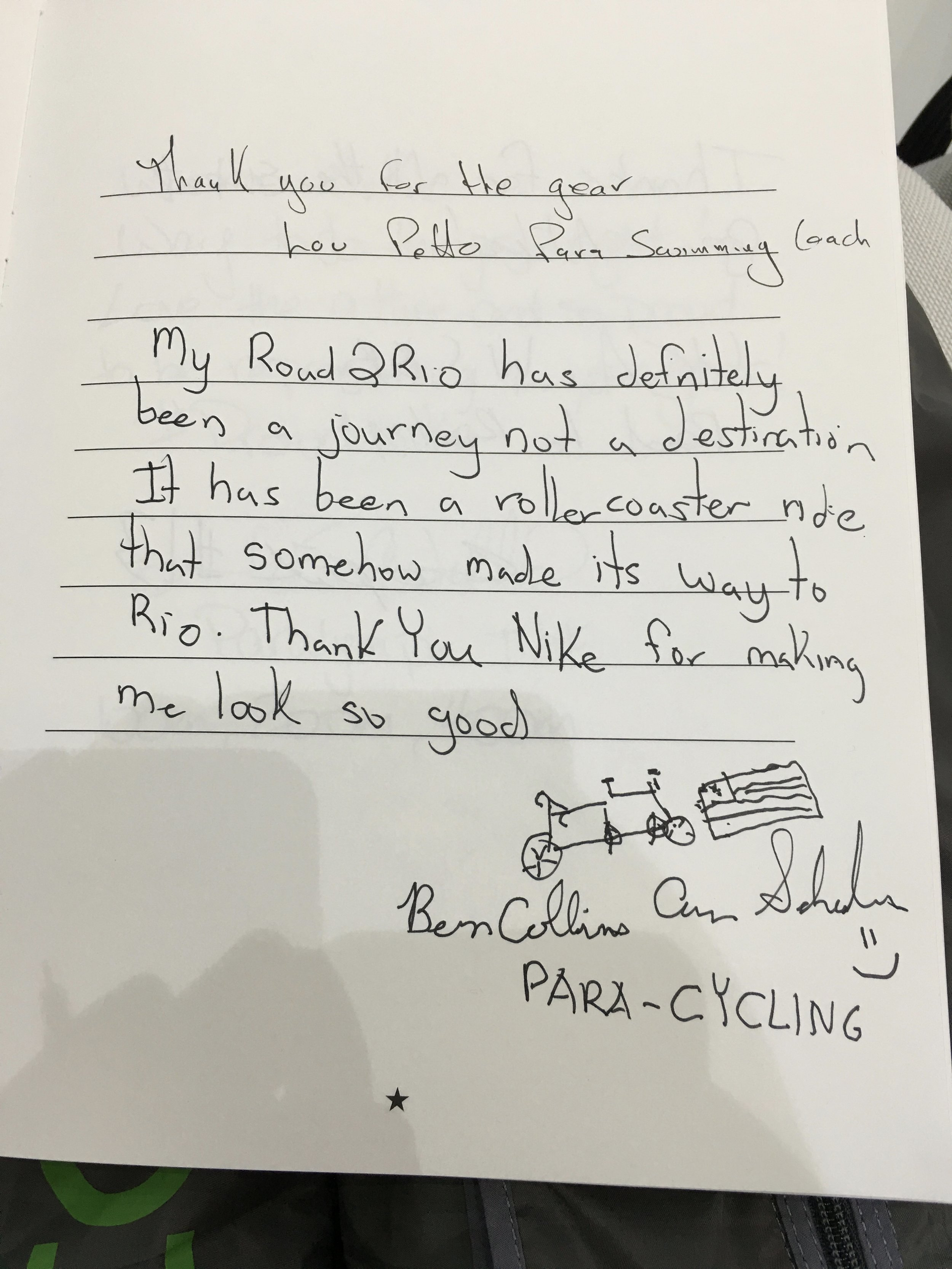 My personal message to Nike in their memory book saying THANKS for all that they do for Team USA