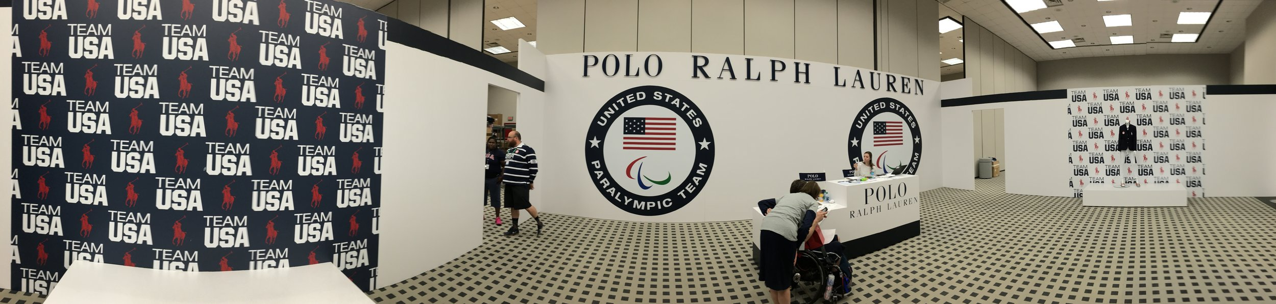 """The entrance to the Ralph Lauren Lounge. This is where we got fitted for our Opening and Closing Ceremony outfits! It was also where the new pop star, """"The White Cane Sensation"""" was born."""