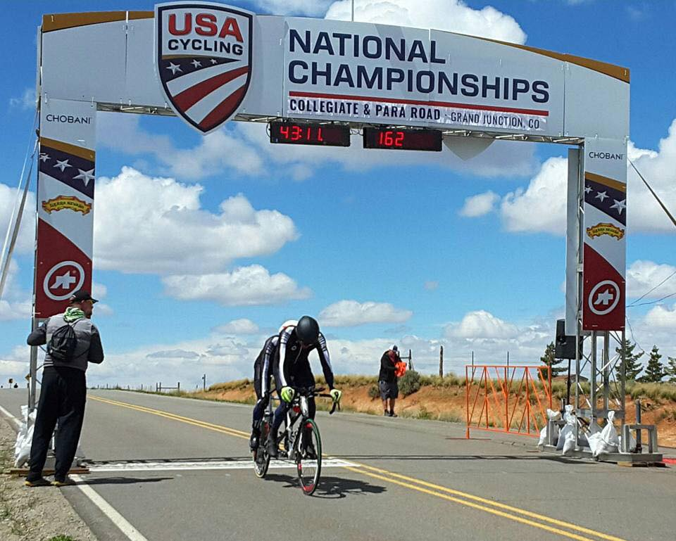 Finishing the time trial at the 2017 ParaCycling National Championships with Paul Thomas as pilot.