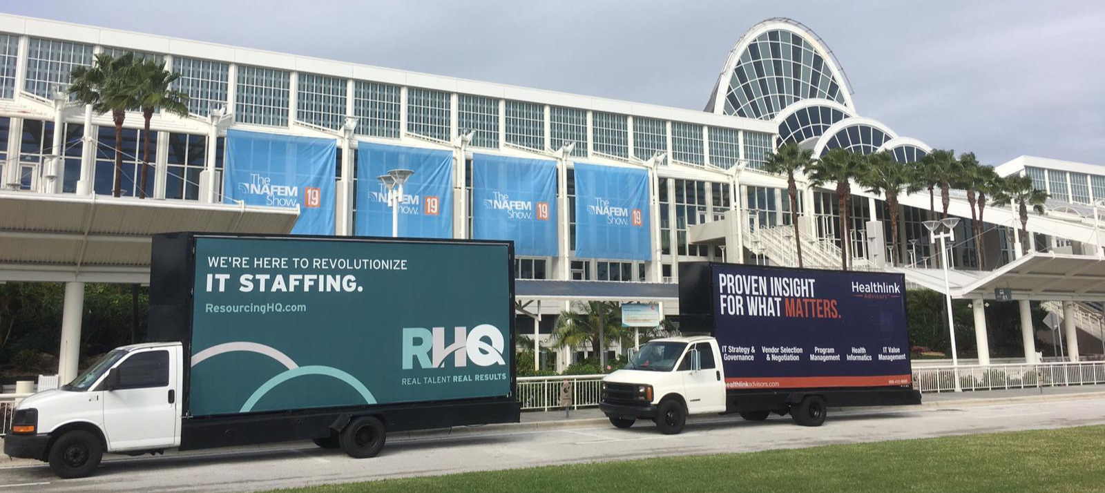 Orlando Florida - Static Billboard truck convention booth activation.Mobile Billboard truck ….