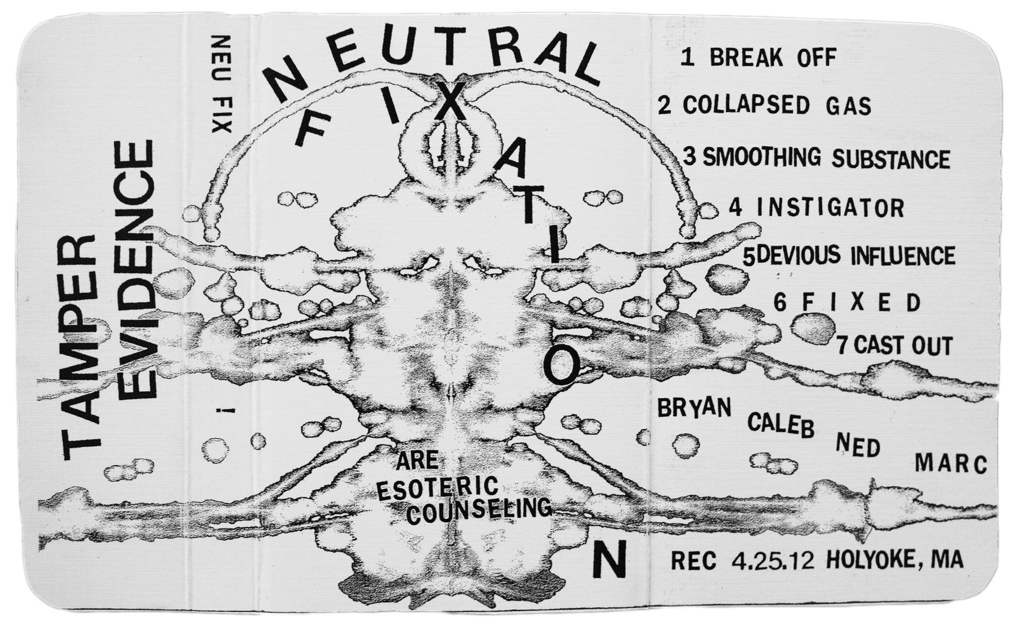 "Neutral Fixation ""Esoteric Counseling"" demo tape layout."