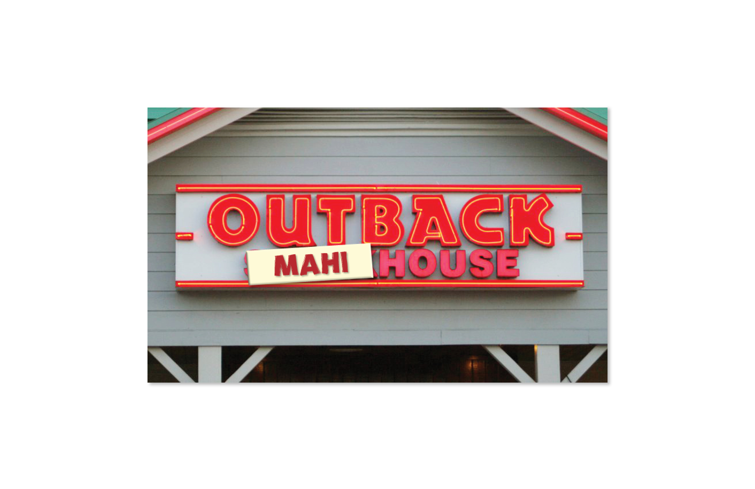 """Instore Publicilty Stunt  Outback locations will receive magnets with """"Mahi,"""" """"Shrimp"""" and """"Crab Legs"""" printed on them. The magnets can be attached to the Outback sign in front of every location. Participating locations can temporarily change the name of their Outback Steakhouse to Outback Shrimphouse or Outback Mahihouse, etc. There should be significant social media attention."""