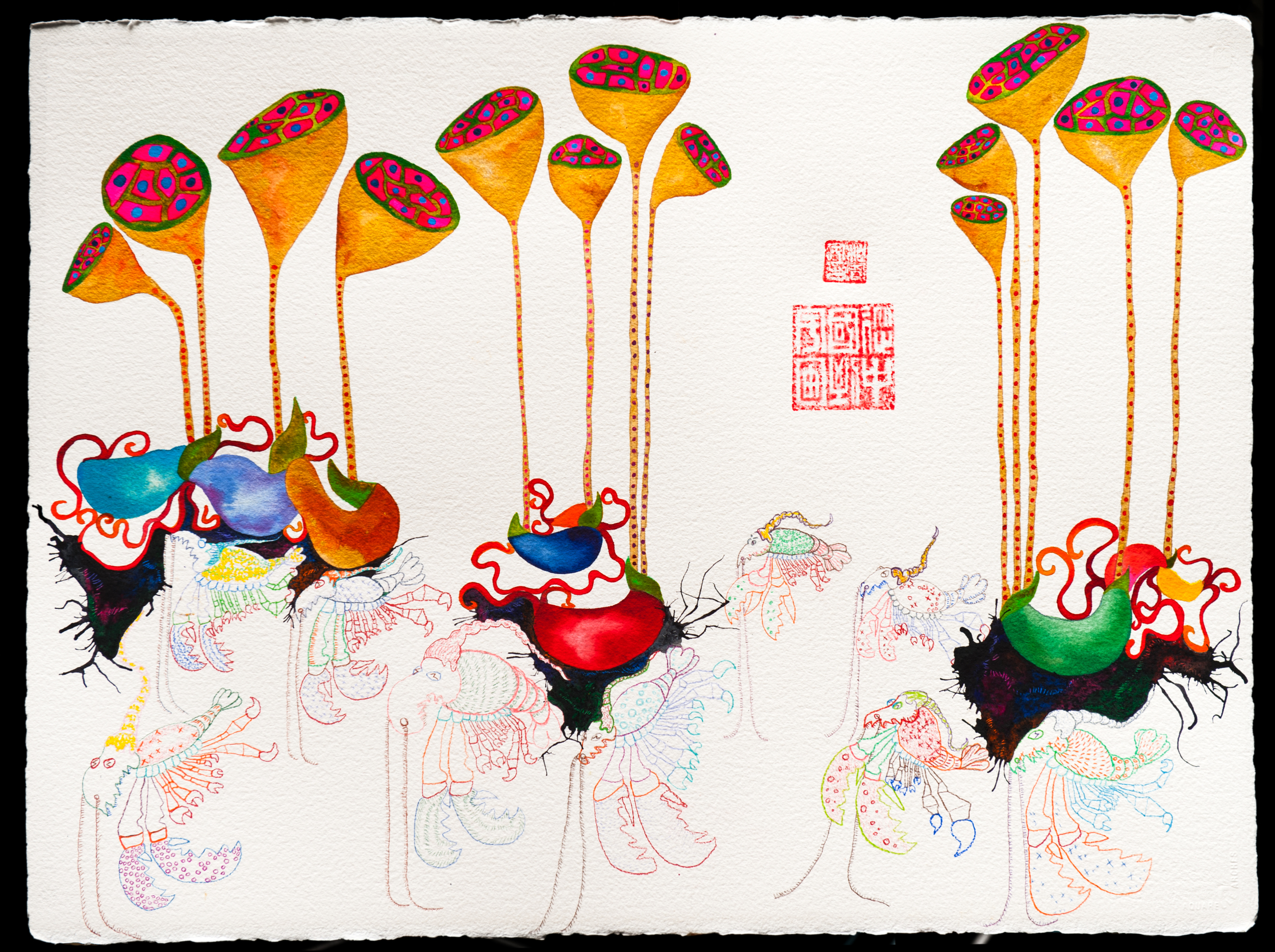 Lobster Army 56x76cm watercolor and mixed media 2014.jpg