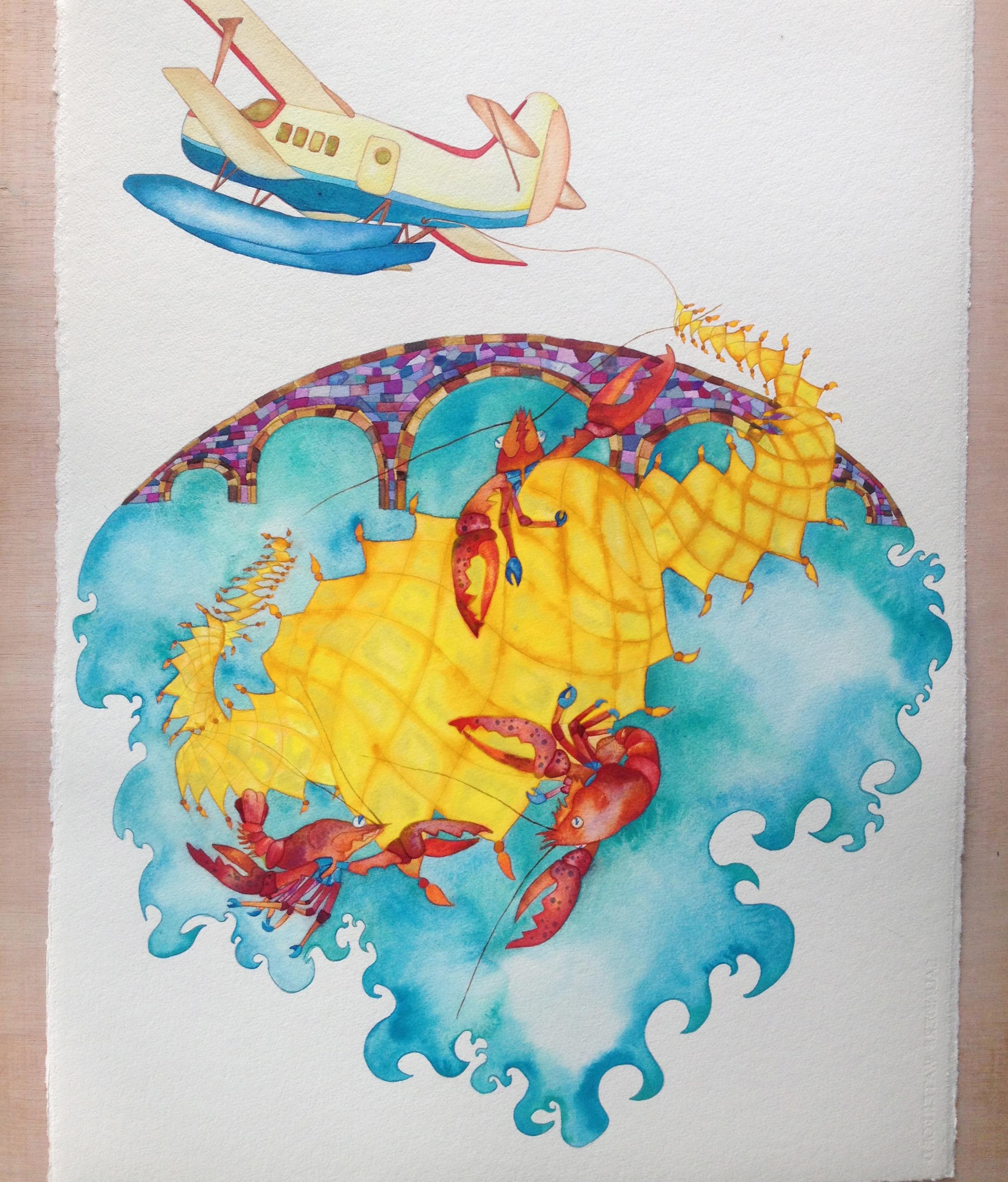 Lobster Flight 56x76cm watercolor 2013.jpg