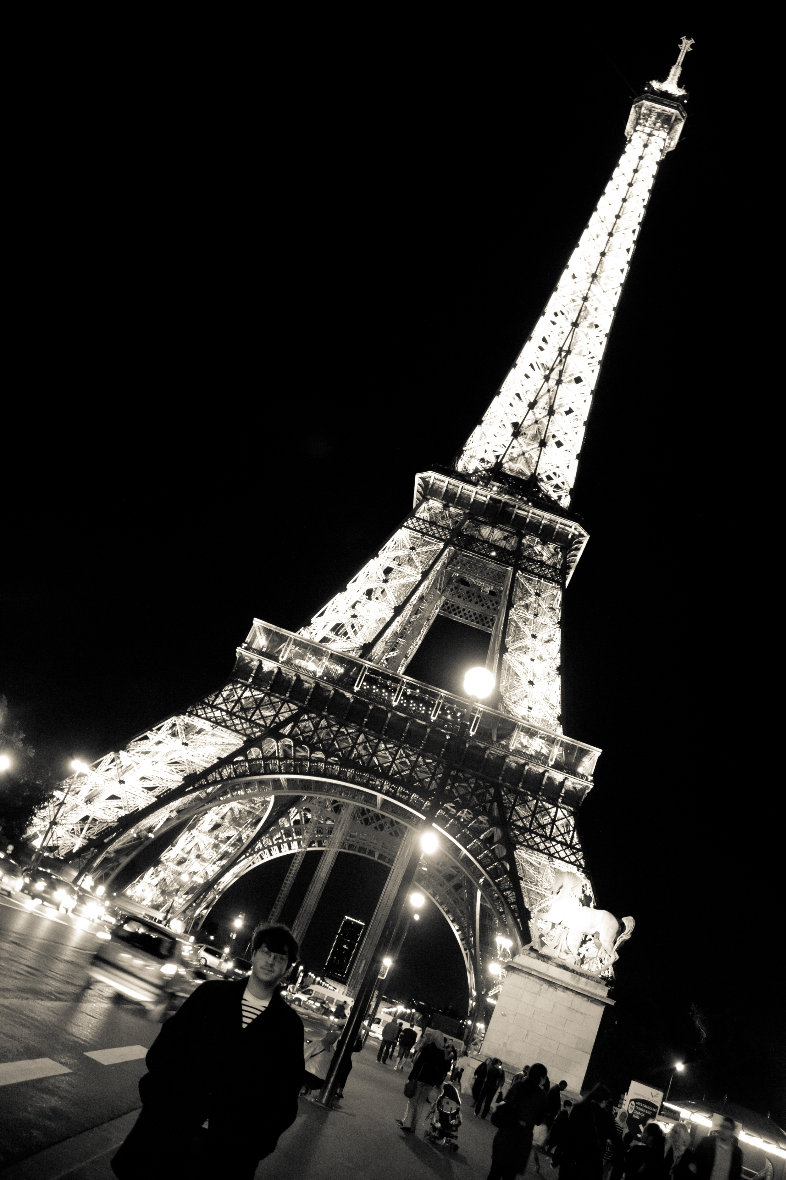 This is the  Eiffel Tower . The tower is a famous place in Paris, France. Do you see Cory under the  Eiffel Tower ?