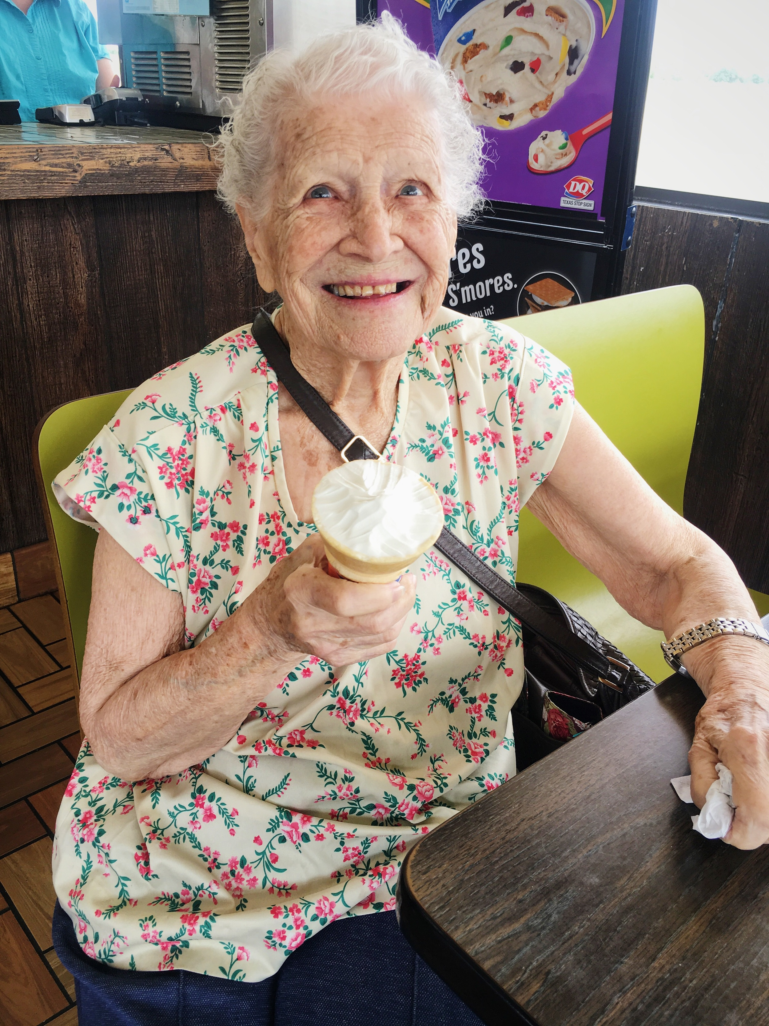 "A beautiful woman smiled at me after I ordered my ice cream cone.  Her eyes sparkling she looked at my cone and said ""I got the big cone. It's so good."" I said ""Indeed! What's your name?"" she replied ""Well I'm Frankie Stanford of Chillicothe, TX but I was born on the Red River. I'm 98 years old."" We talked about her family, she asked about mINe and I showed her my pictures. ""Can I take your picture?"" I asked. ""Absolutely, I'm glad I'm still making friends?""  Small interactions can change us forever."
