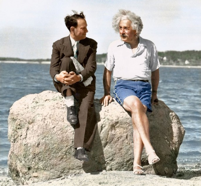 Albert Einstein in Long Island 1939. Colorized by  Paul Edwards