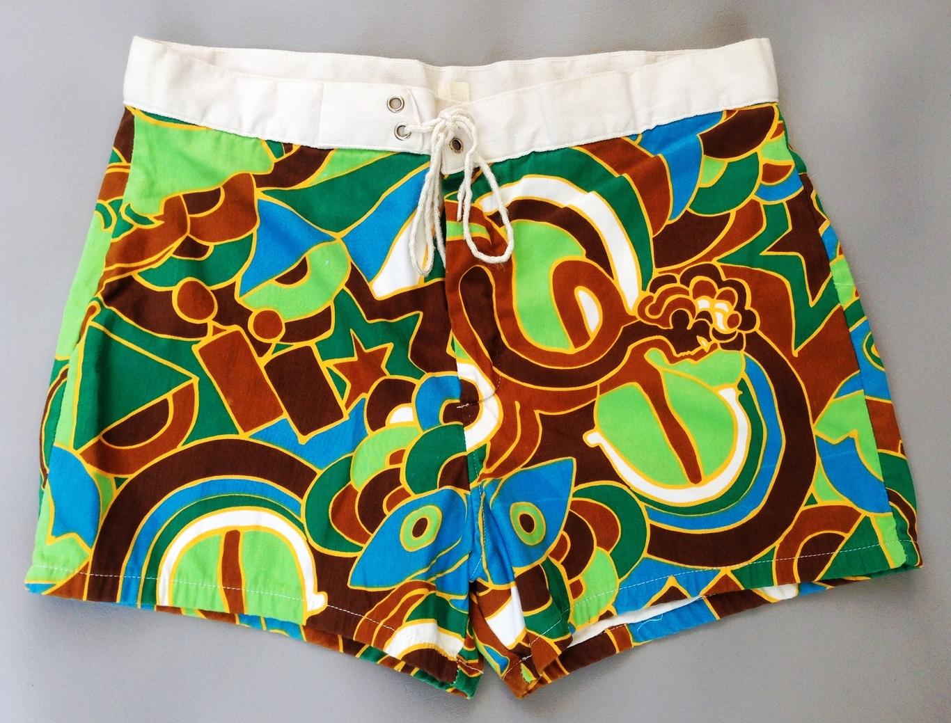 Men's 1960's psychedelic swim trunks