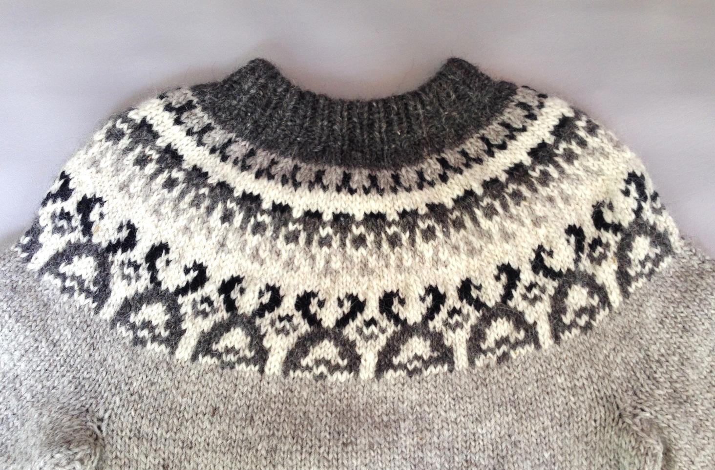 Men's vintage hand knit fair isle sweater
