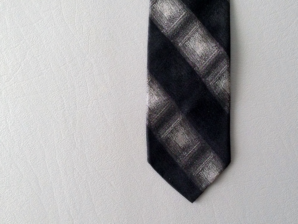 Vintage 1950's - 1960's stripe / shadow plaid tie