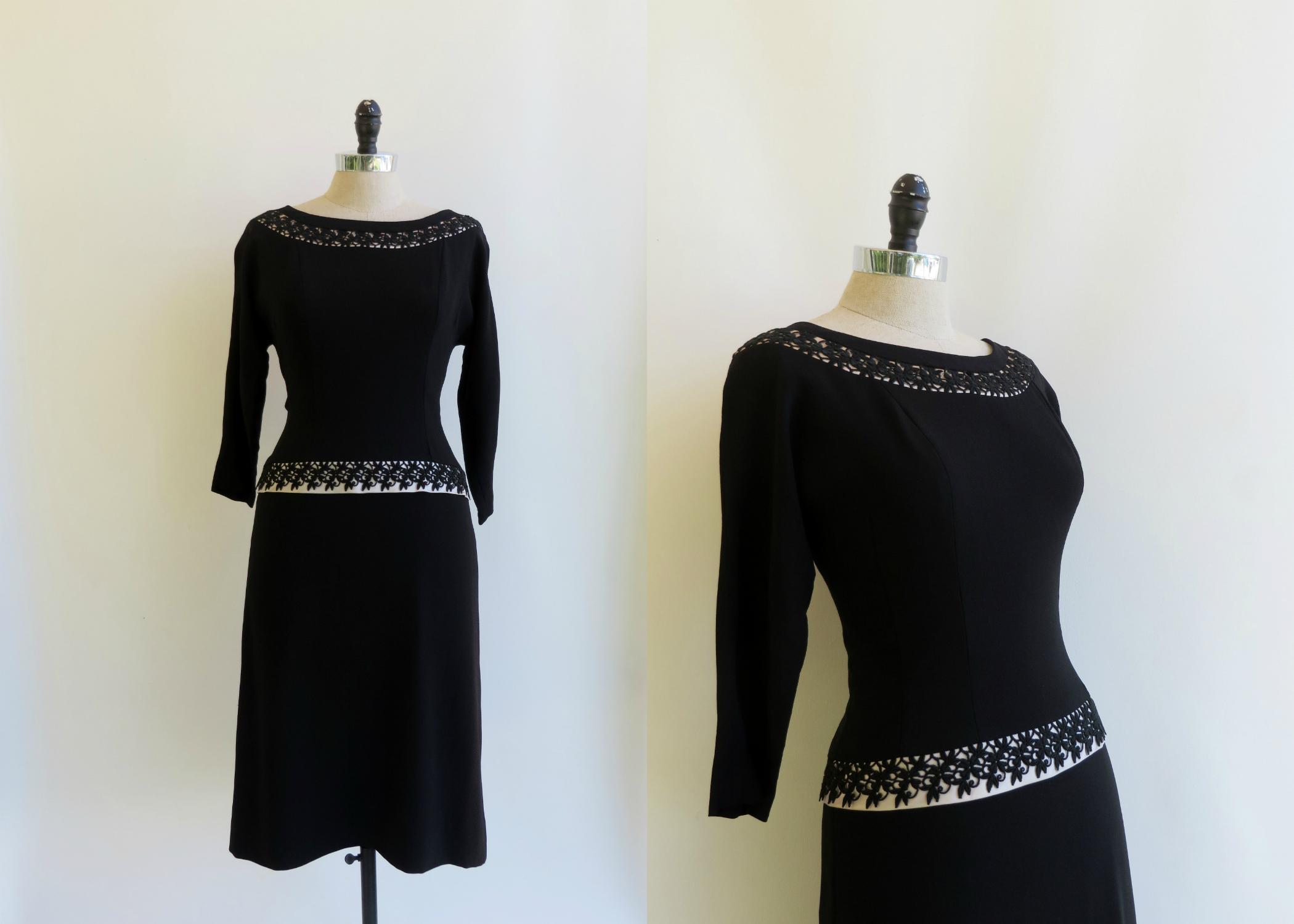 1950's little black dress with white satin & black lace details