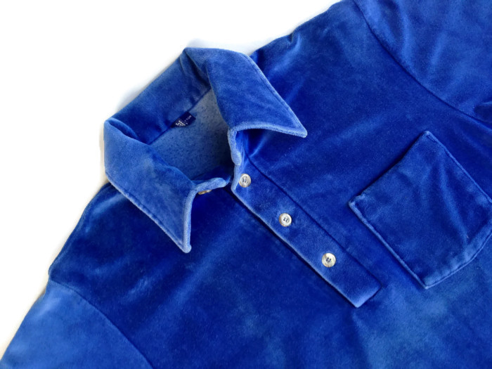 1970's - 1980's Men's Electric Blue Velour Shirt