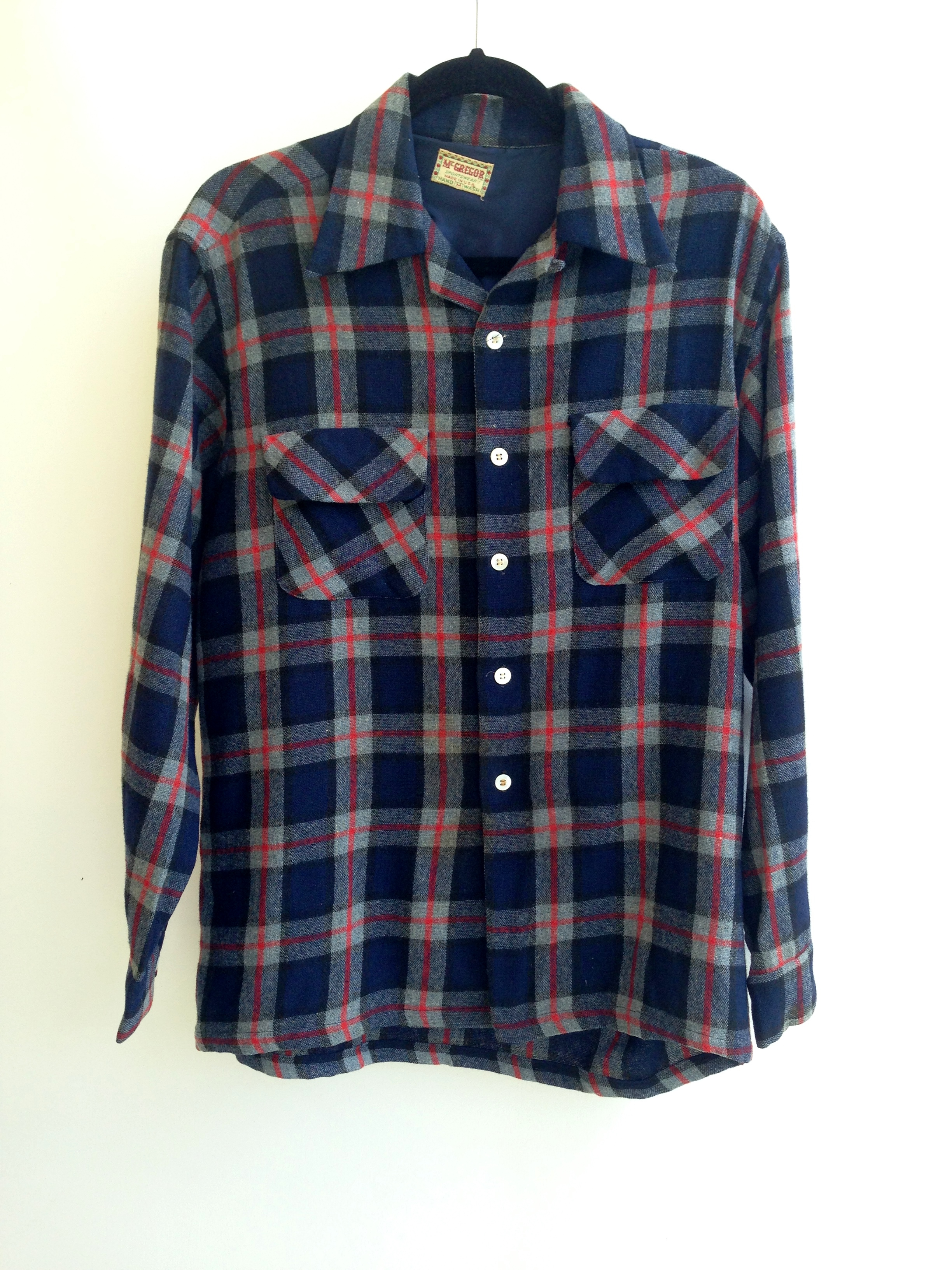 1940's - 1950's Men's Plaid Flannel Shirt by McGregor