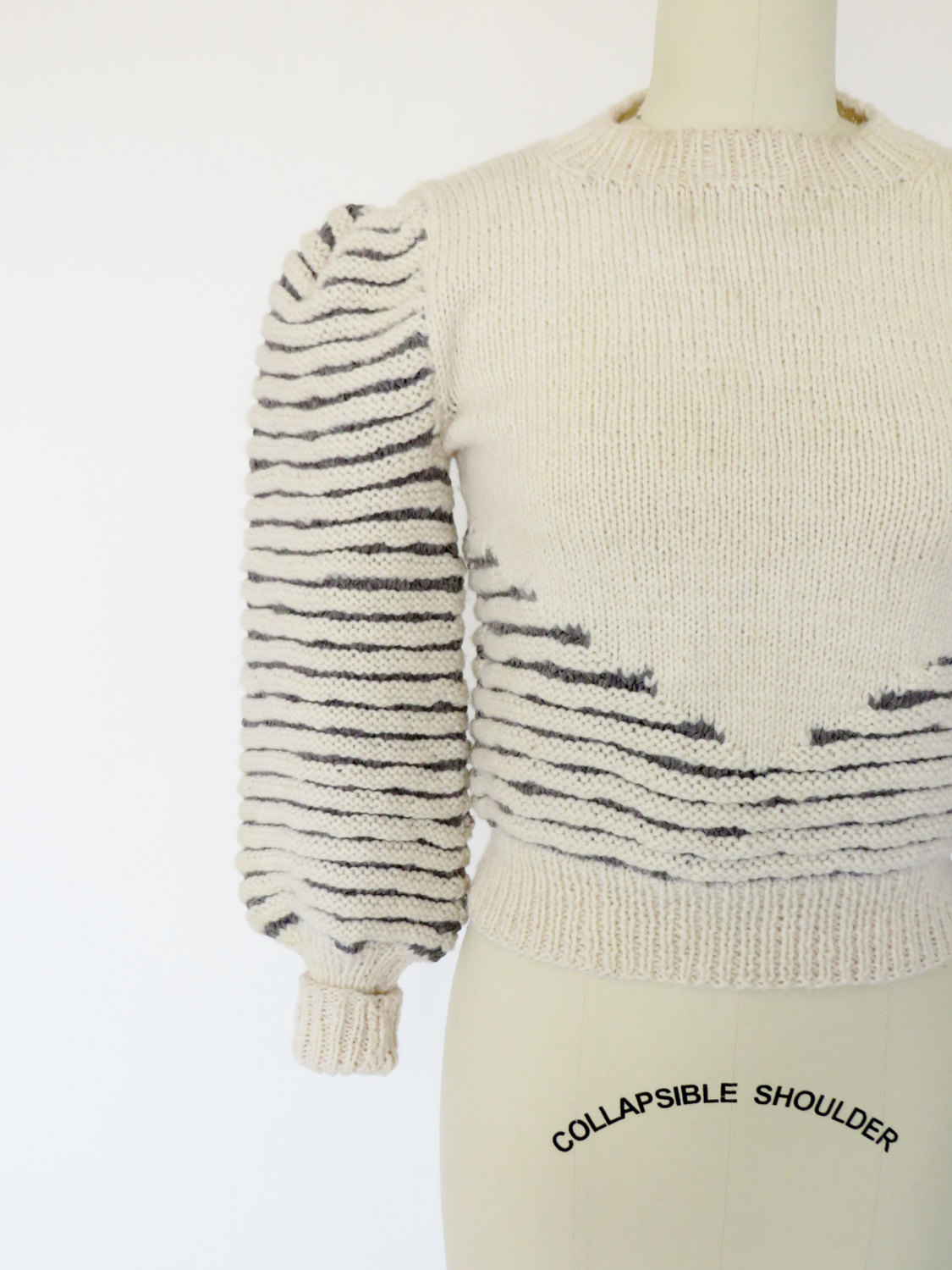 Hand-knit natural wool & grey chamois in a lovely 1930's - 1940's style