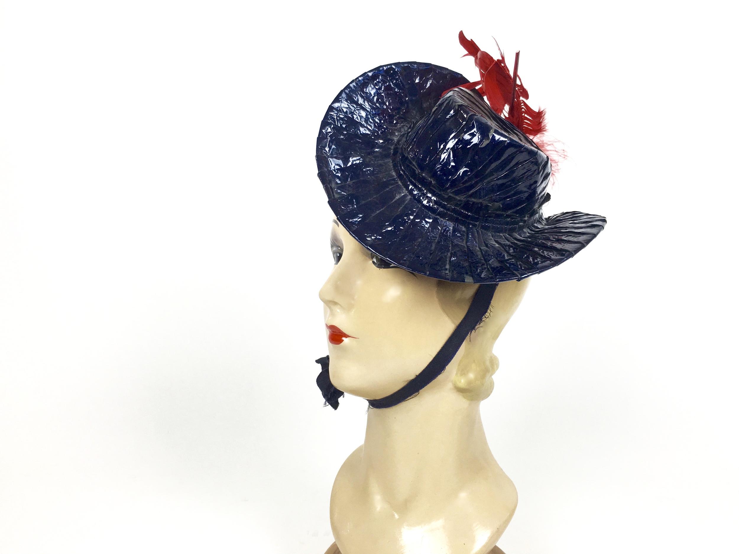 Vintage 1940's toy tilt hat in red & blue